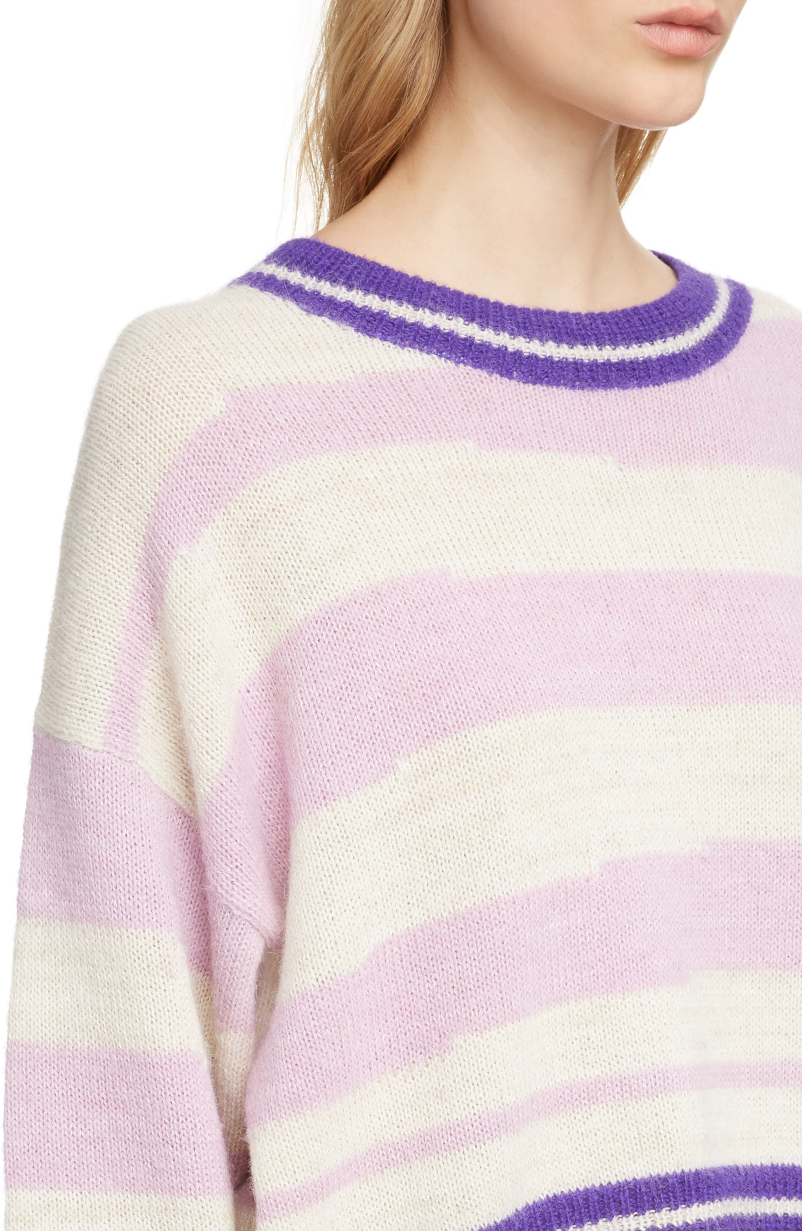 Glowy Stripe Sweater,                             Alternate thumbnail 4, color,                             LILAC