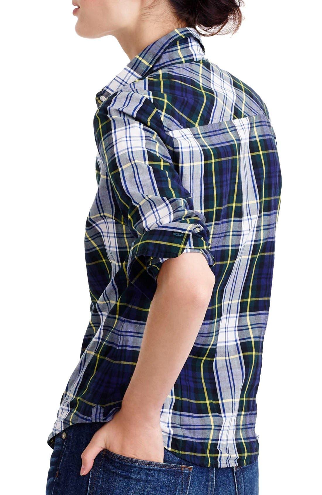Navy Stewart Plaid Perfect Shirt,                             Alternate thumbnail 2, color,                             400