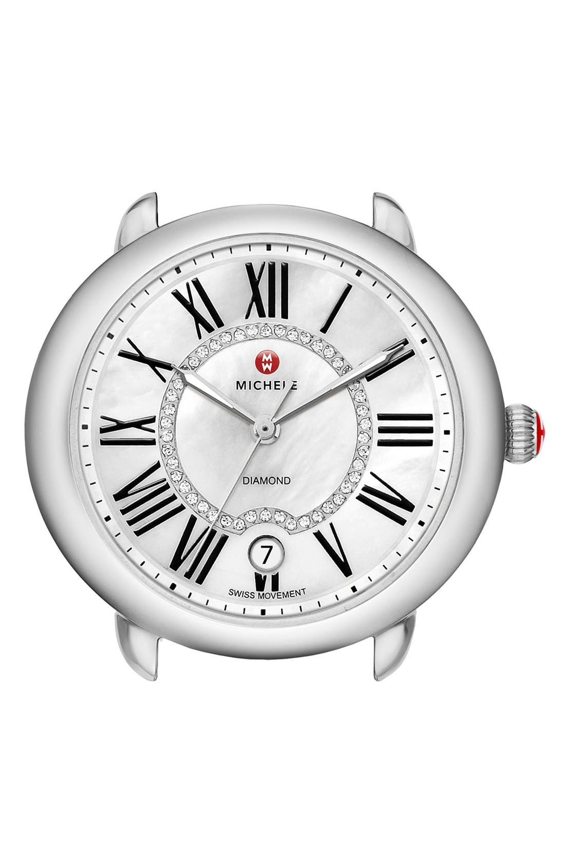 Serein 16 Diamond Dial Round Watch Head, 34mm x 36mm,                             Main thumbnail 1, color,                             SILVER