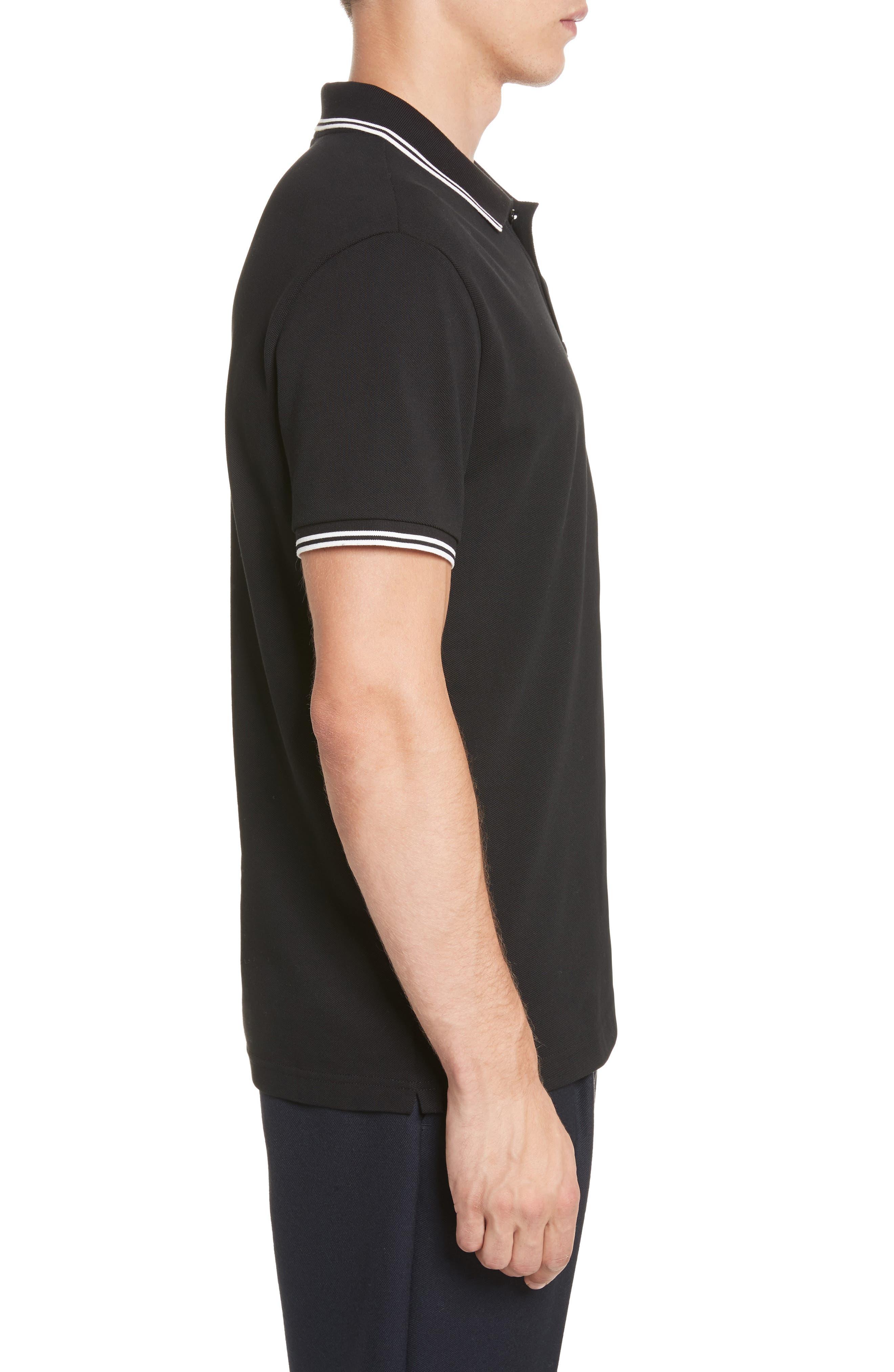 Striped Collar Polo Shirt,                             Alternate thumbnail 3, color,                             001
