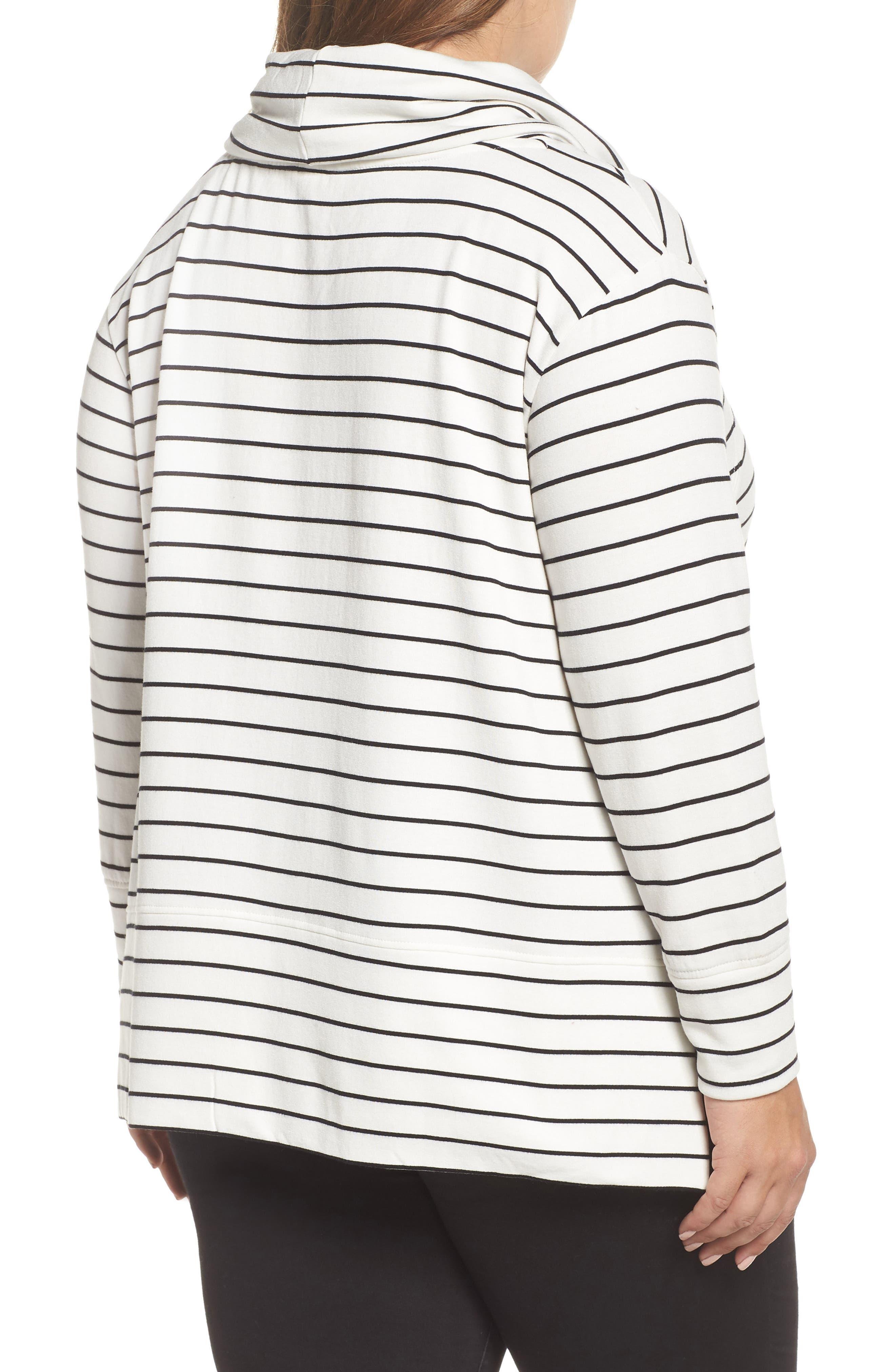 Cowl Neck Tunic Sweatshirt,                             Alternate thumbnail 2, color,                             IVORY- BLACK LUKAH STRIPE