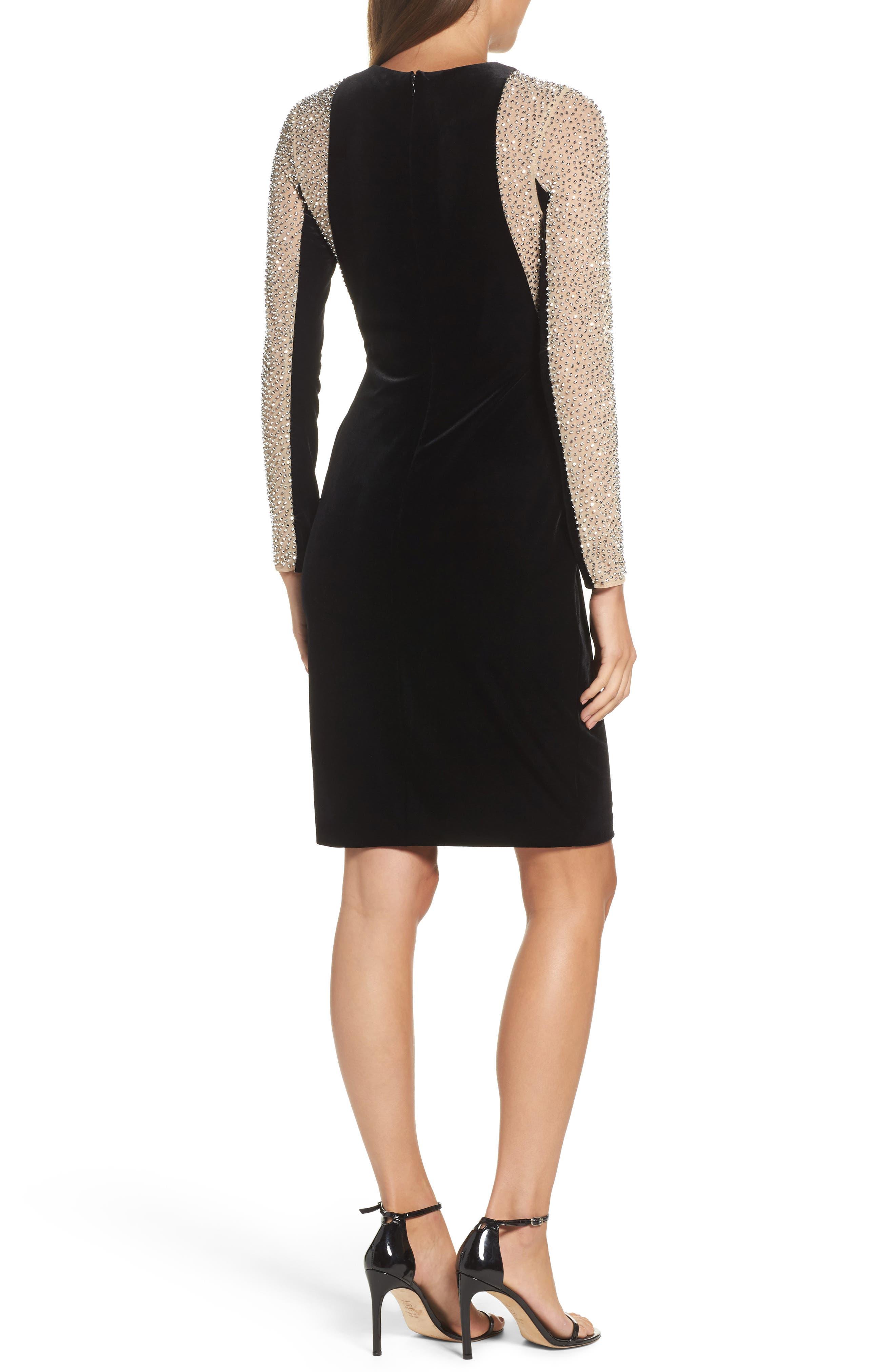 Caviar Bead Mesh Velvet Body-Con Dress,                             Alternate thumbnail 2, color,                             BLACK/ NUDE/ SILVER