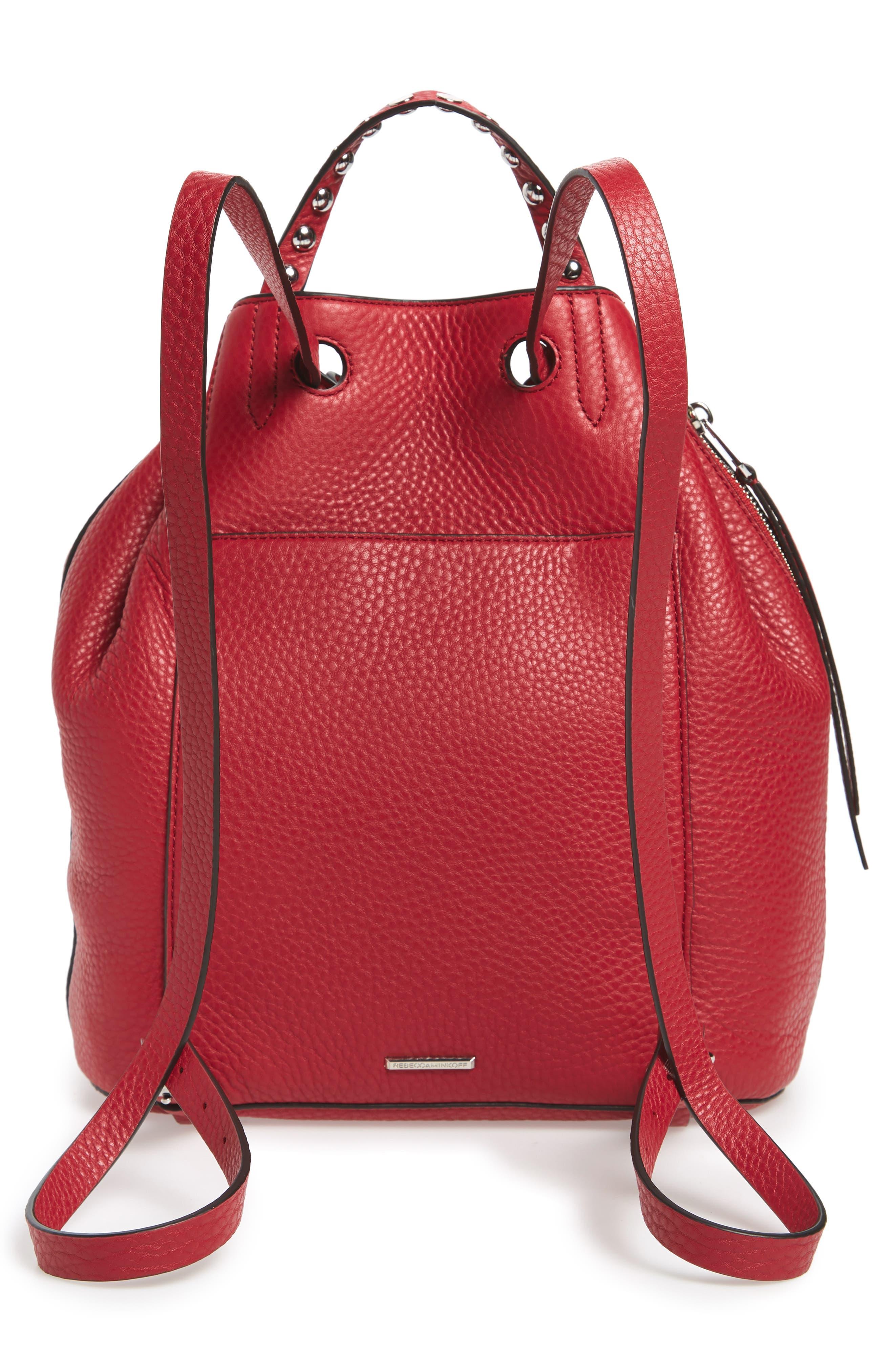 Blythe Leather Backpack,                             Alternate thumbnail 3, color,                             SCARLET