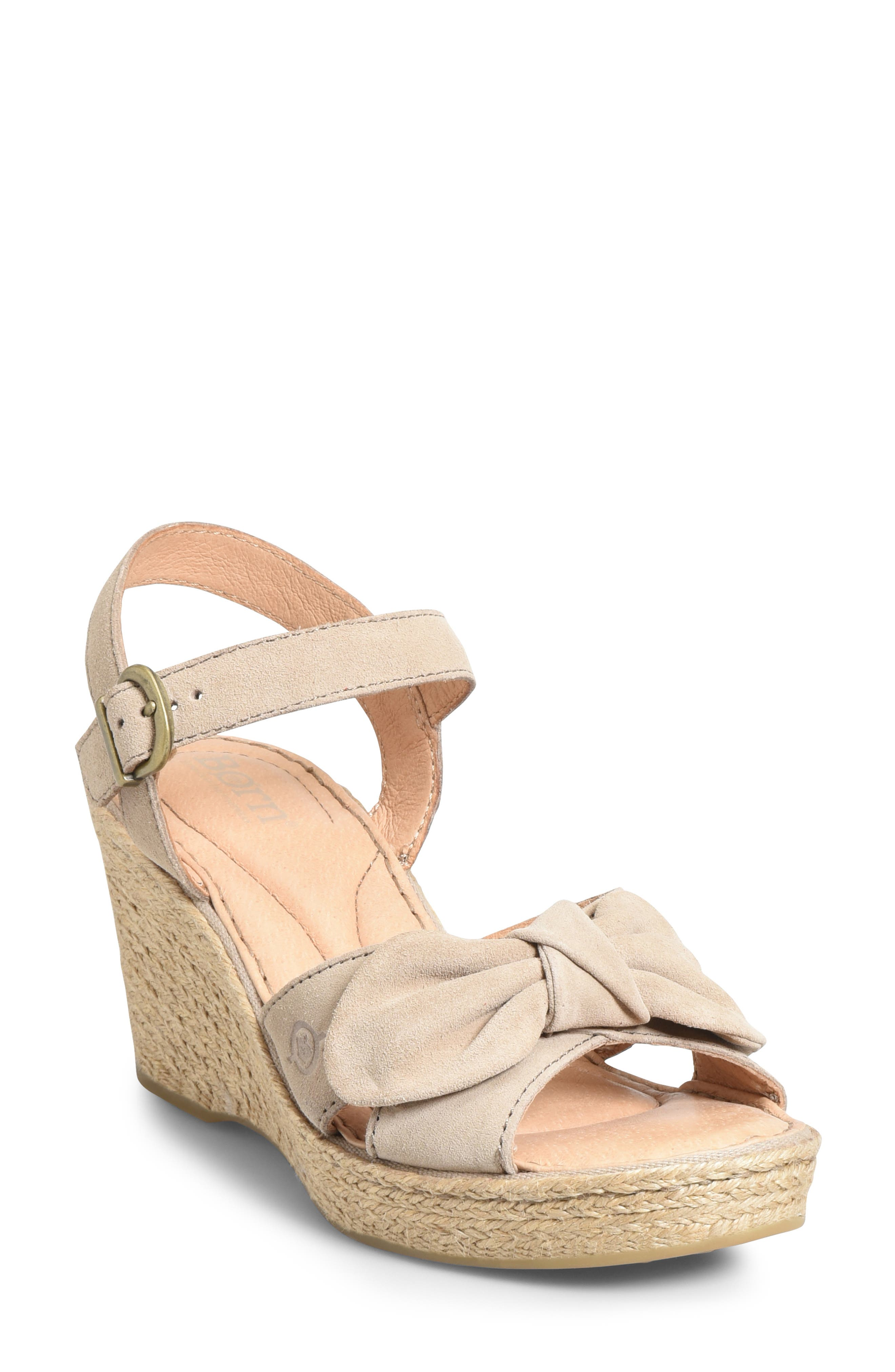 B?rn Monticello Knotted Wedge Sandal, Beige