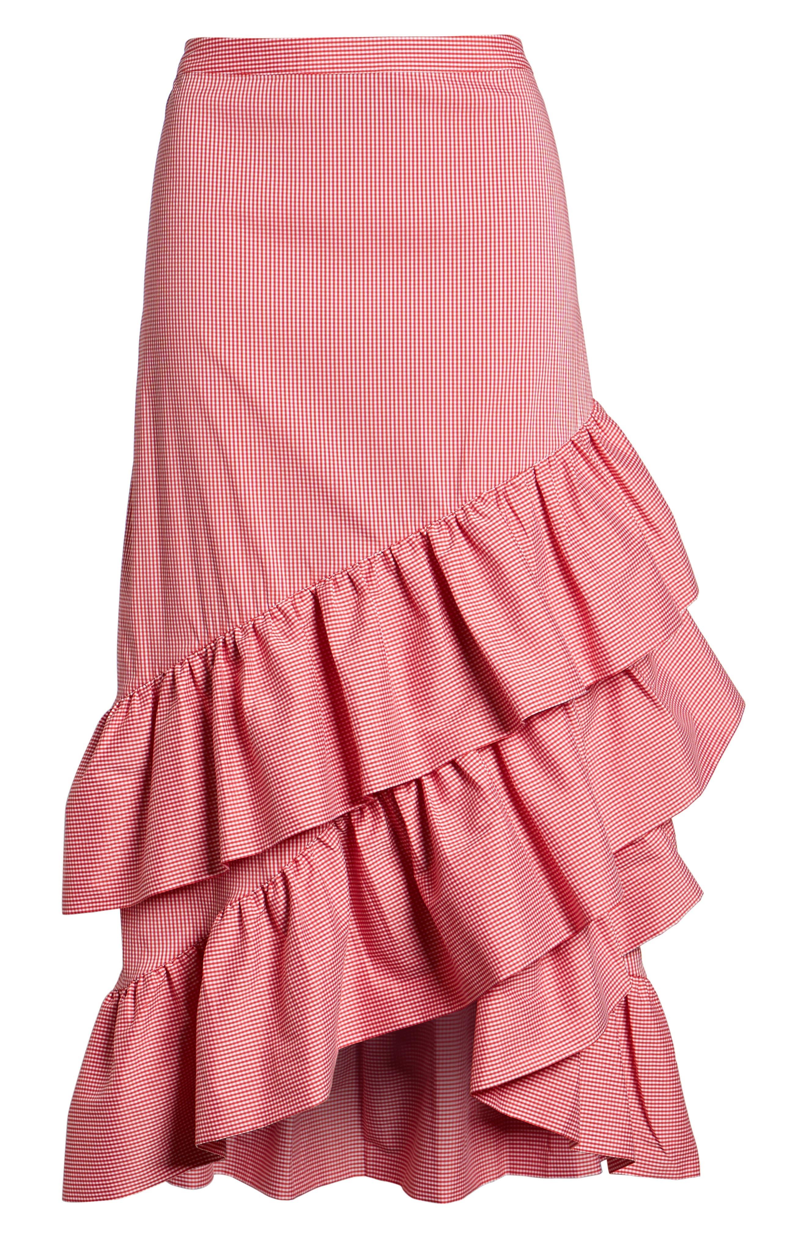 Gingham Ruffle Skirt,                             Alternate thumbnail 12, color,