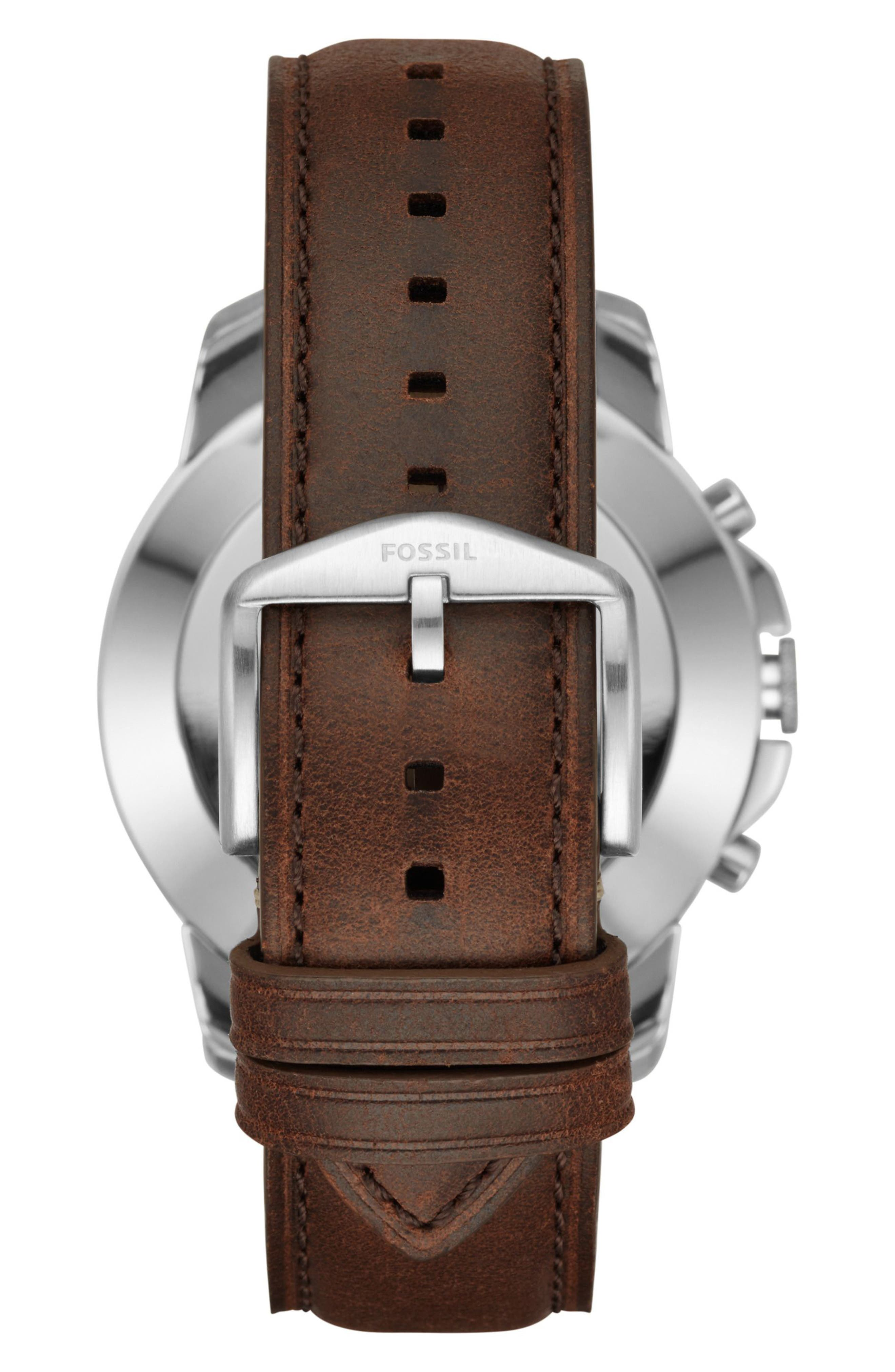 Grant Leather Strap Smart Watch, 44mm,                             Alternate thumbnail 2, color,                             BROWN/ BEIGE/ SILVER