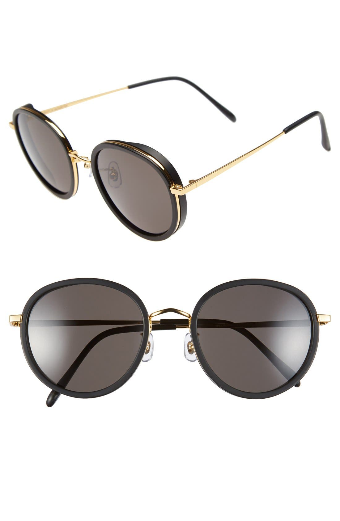 53mm Round Retro Sunglasses,                             Main thumbnail 1, color,                             001