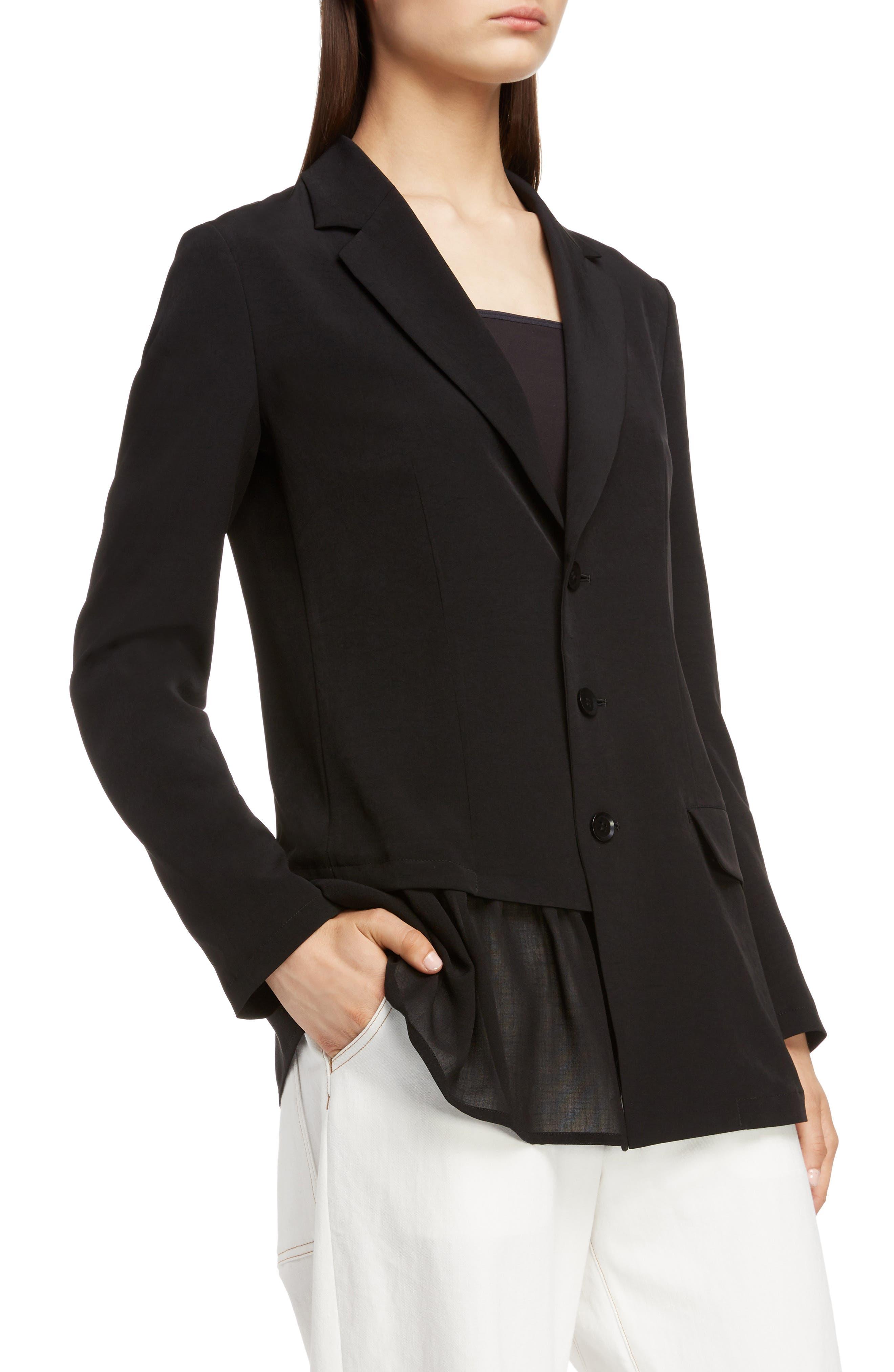 Asymmetrical Peplum Jacket,                             Alternate thumbnail 4, color,                             BLACK