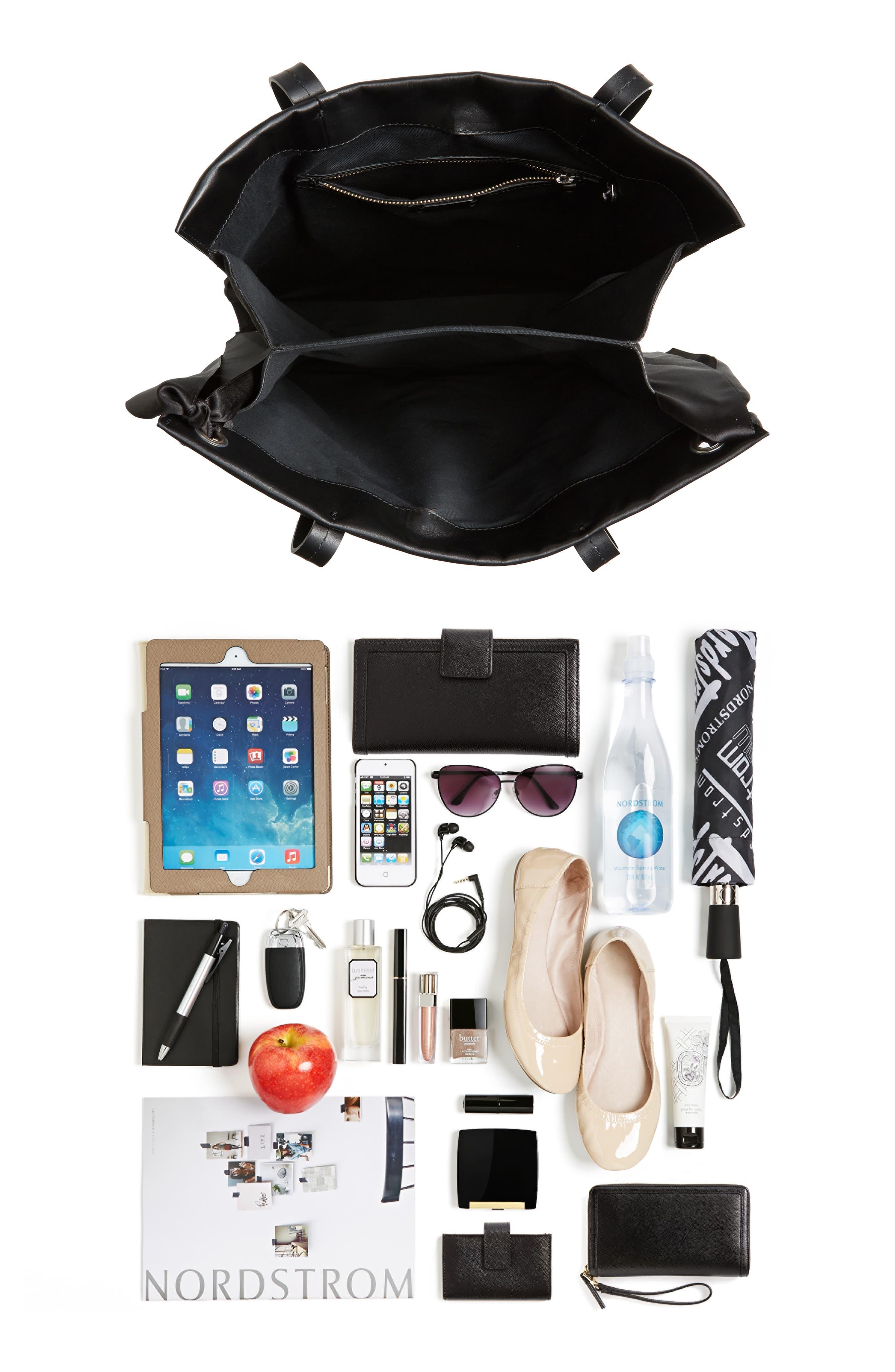 Premium Leather Grace Tote Bag,                             Alternate thumbnail 7, color,                             001