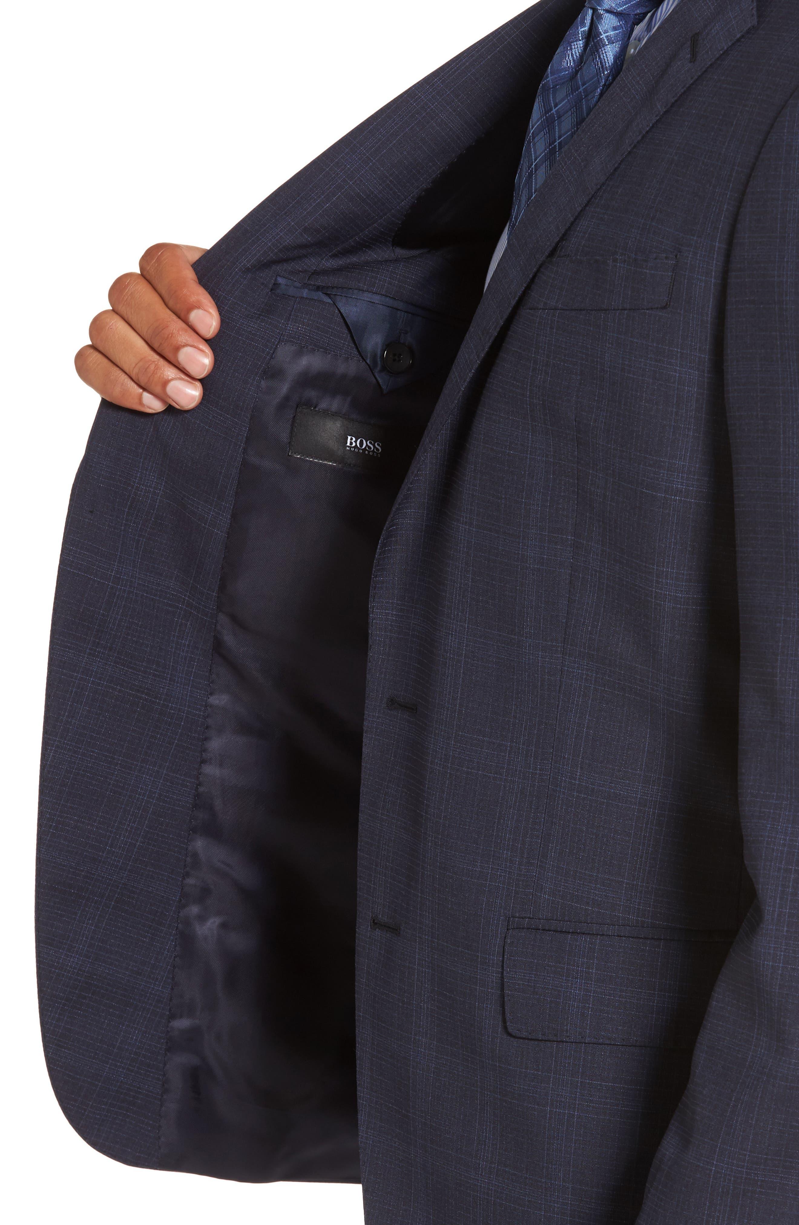 Huge/Genius Trim Fit Plaid Wool Suit,                             Alternate thumbnail 4, color,