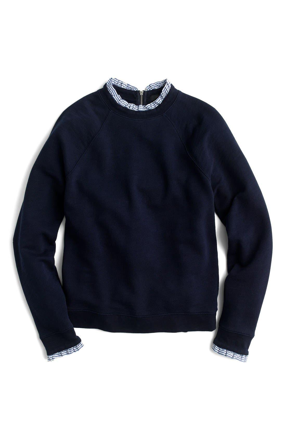 Ruffle Trim Sweatshirt,                             Alternate thumbnail 3, color,                             400