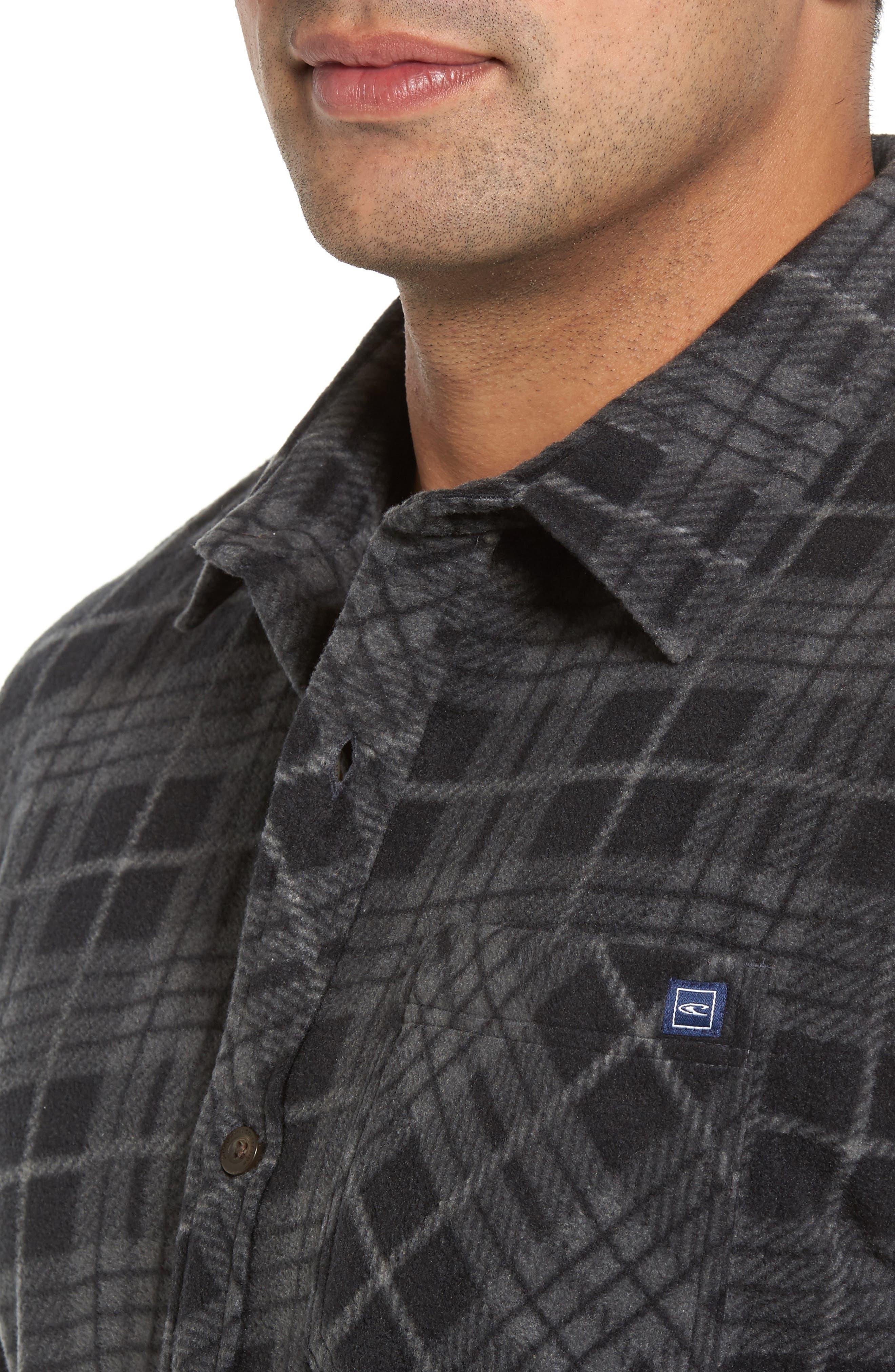 Breakers Regular Fit Plaid Fleece Shirt,                             Alternate thumbnail 4, color,                             001