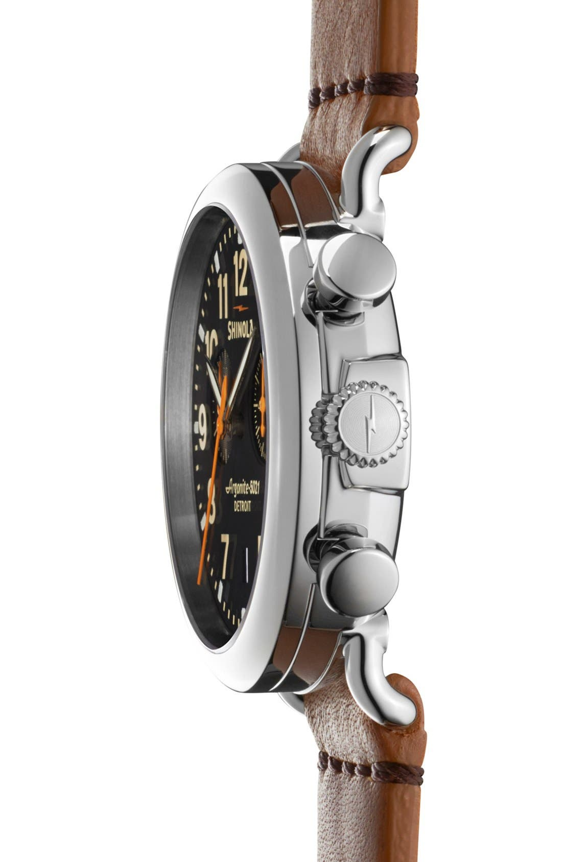 'The Runwell Chrono' Leather Strap Watch, 41mm,                             Alternate thumbnail 2, color,                             TAN/ BLACK