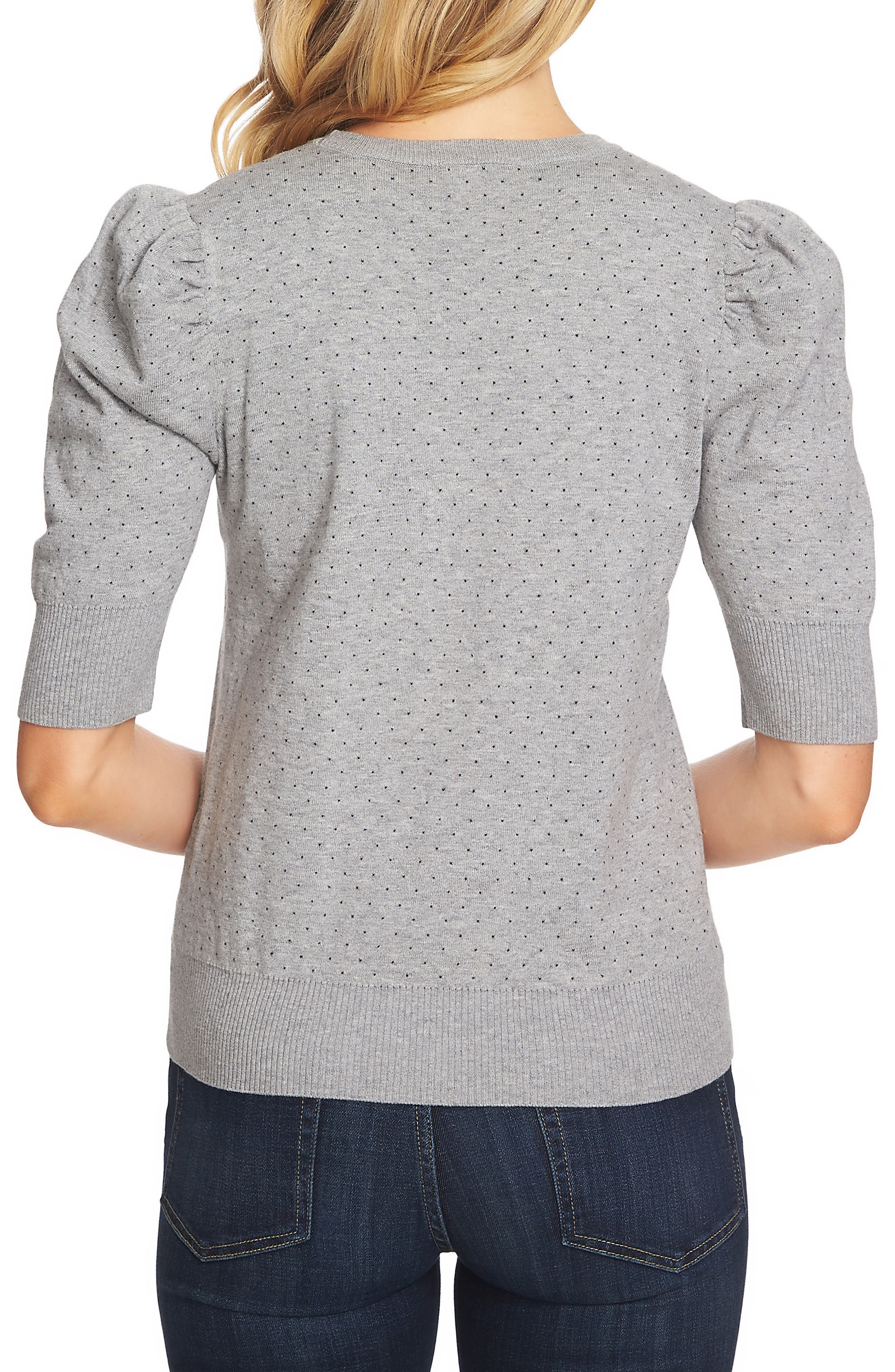 Puffed Sleeve Jacquard Sweater,                             Alternate thumbnail 2, color,                             LIGHT HEATHER GREY