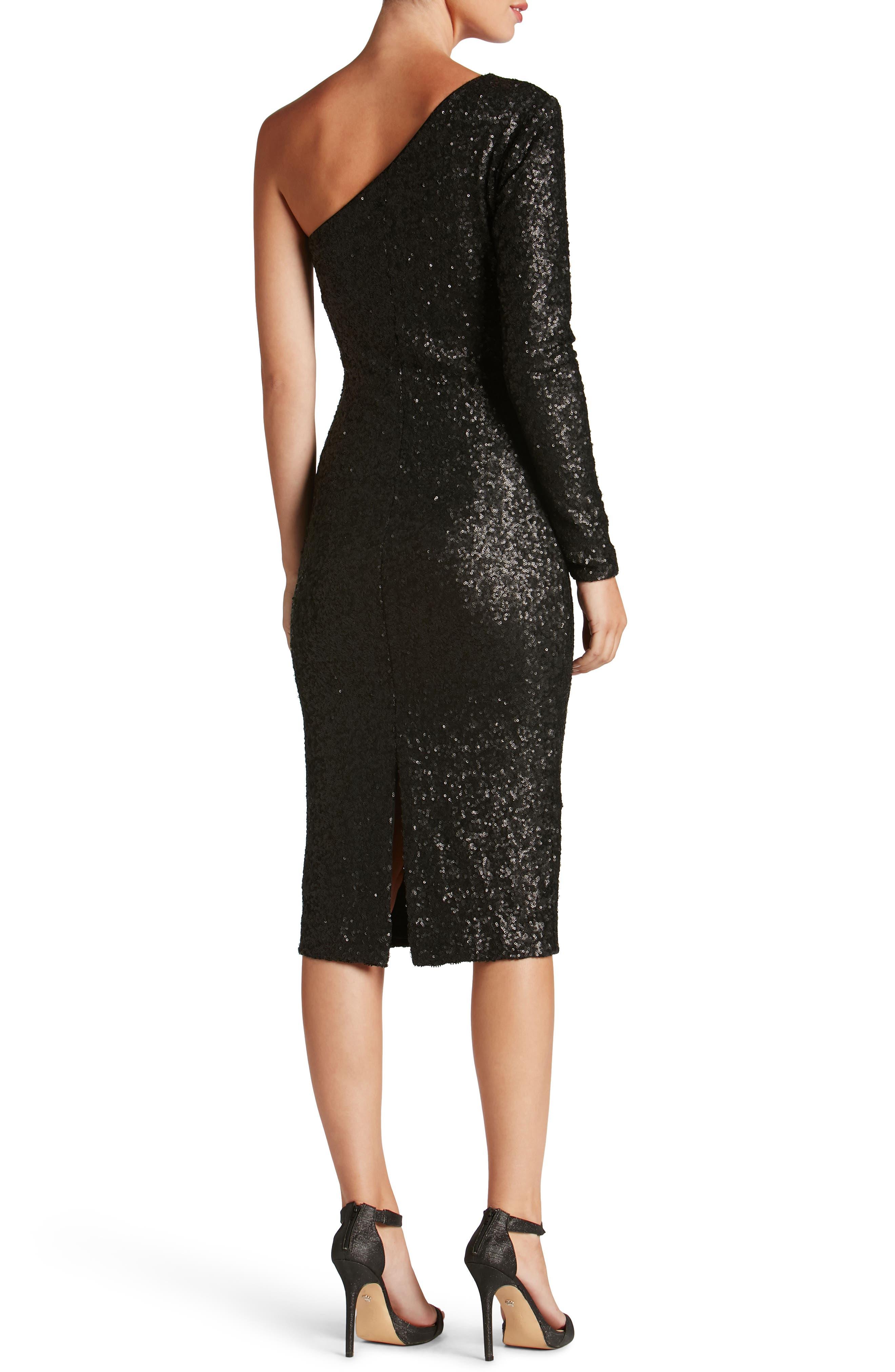Chrissie Sequin One-Shoulder Dress,                             Alternate thumbnail 2, color,                             018