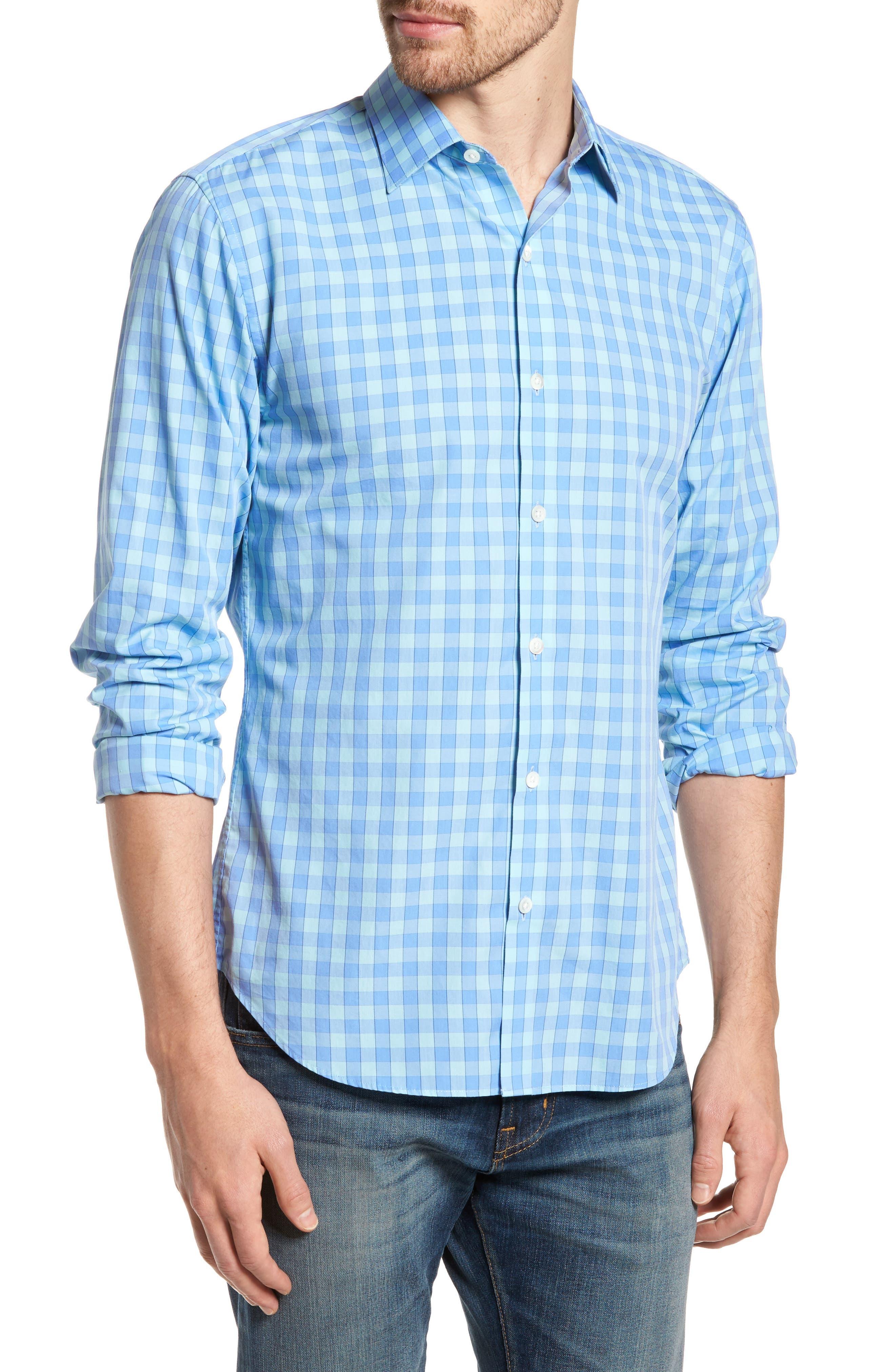 Unbutton Down 2.0 Slim Fit Gingham Sport Shirt,                         Main,                         color, 400