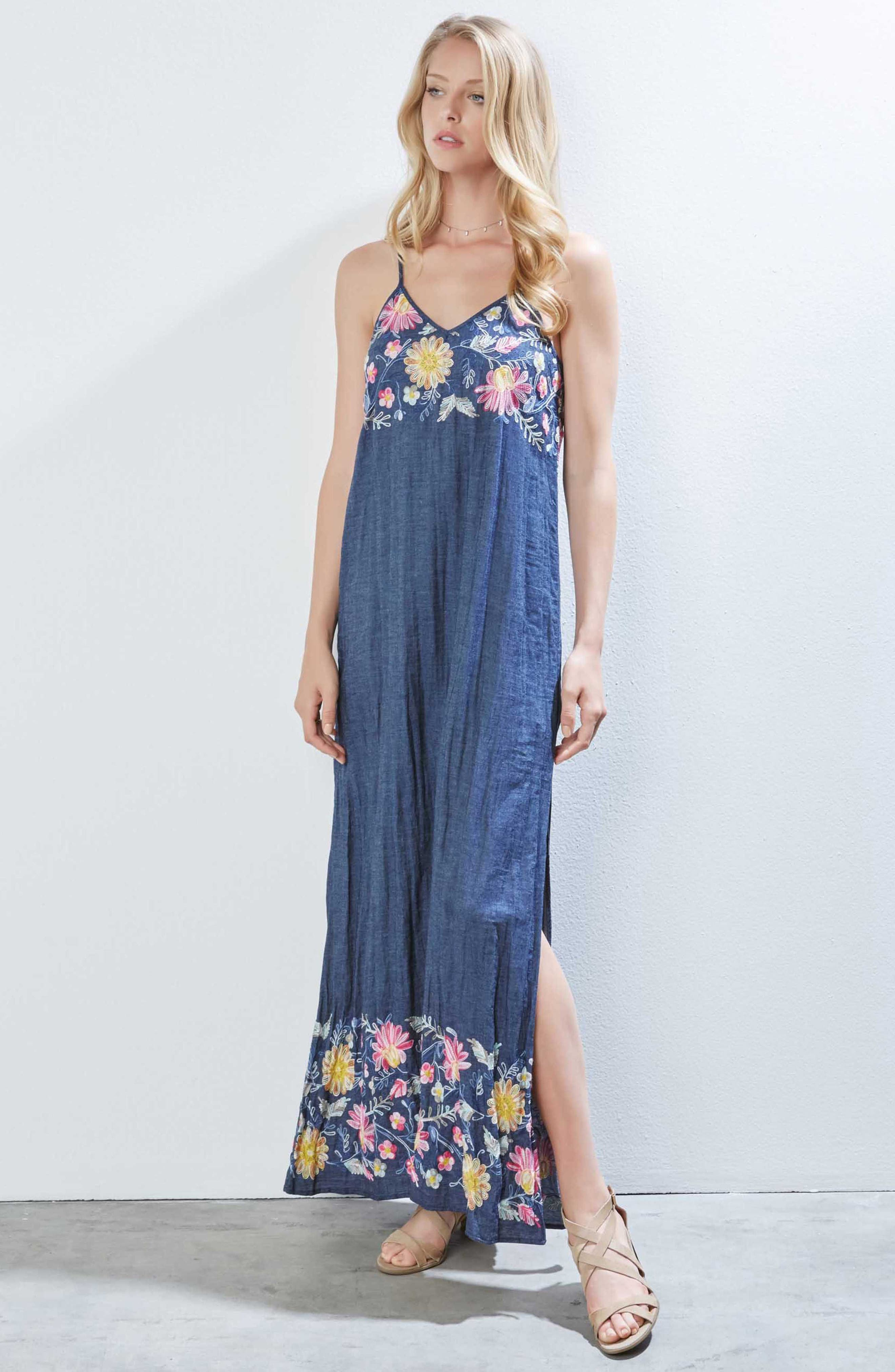 Embroidered Maxi Dress,                             Alternate thumbnail 3, color,                             DENIM