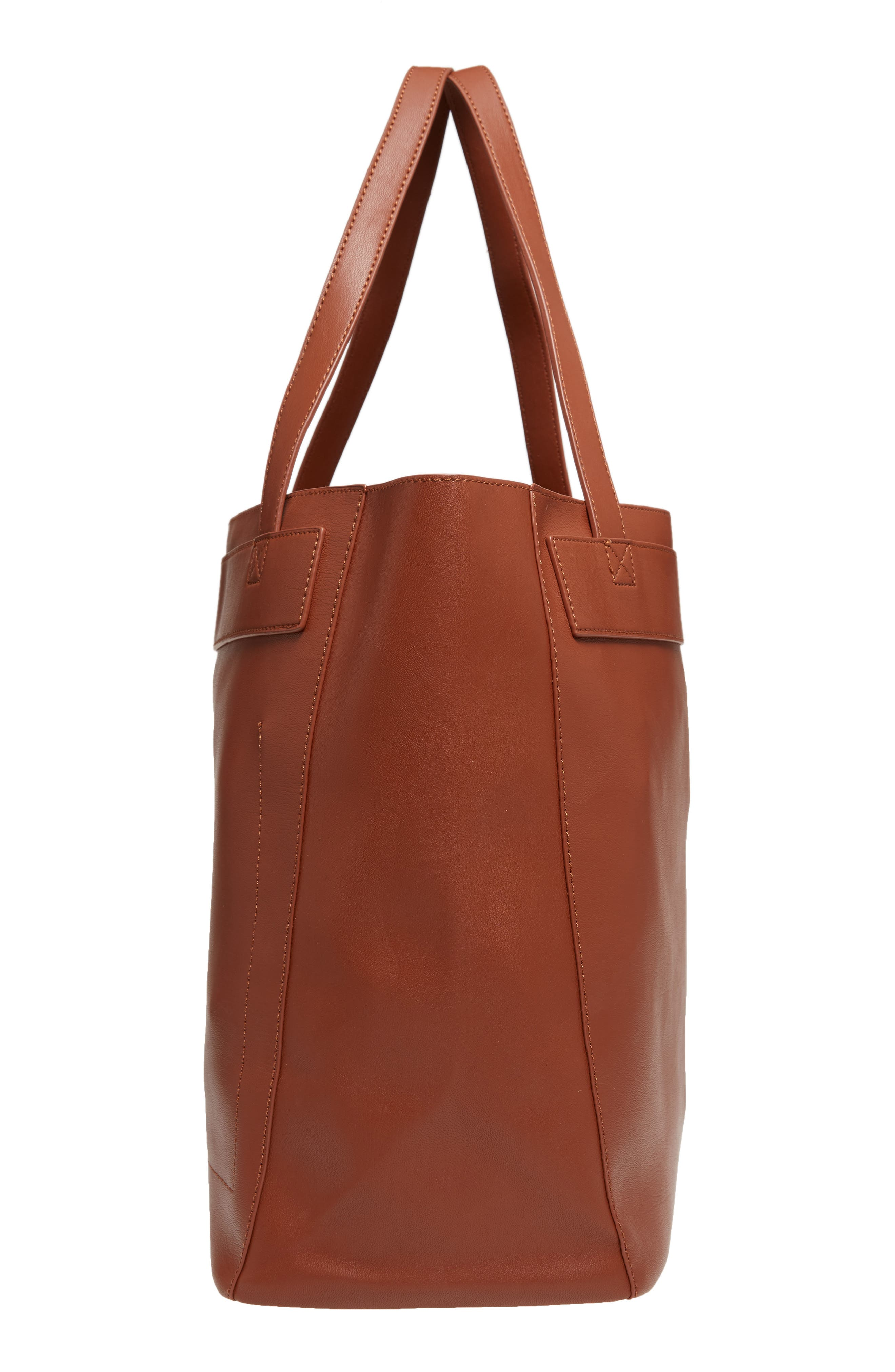 Stitched Faux Leather Tote,                             Alternate thumbnail 5, color,                             COGNAC