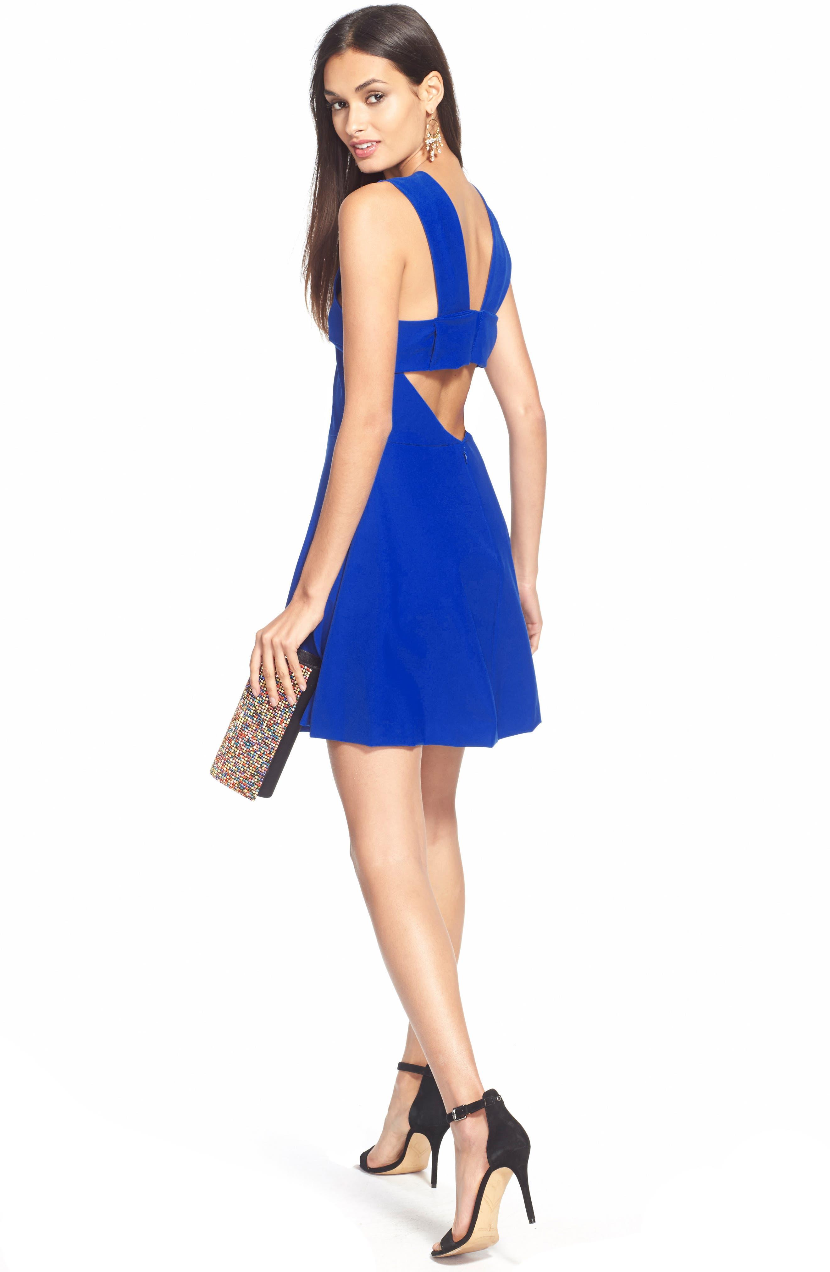 Bianca Back Cutout Fit & Flare Dress,                             Alternate thumbnail 12, color,                             COBALT