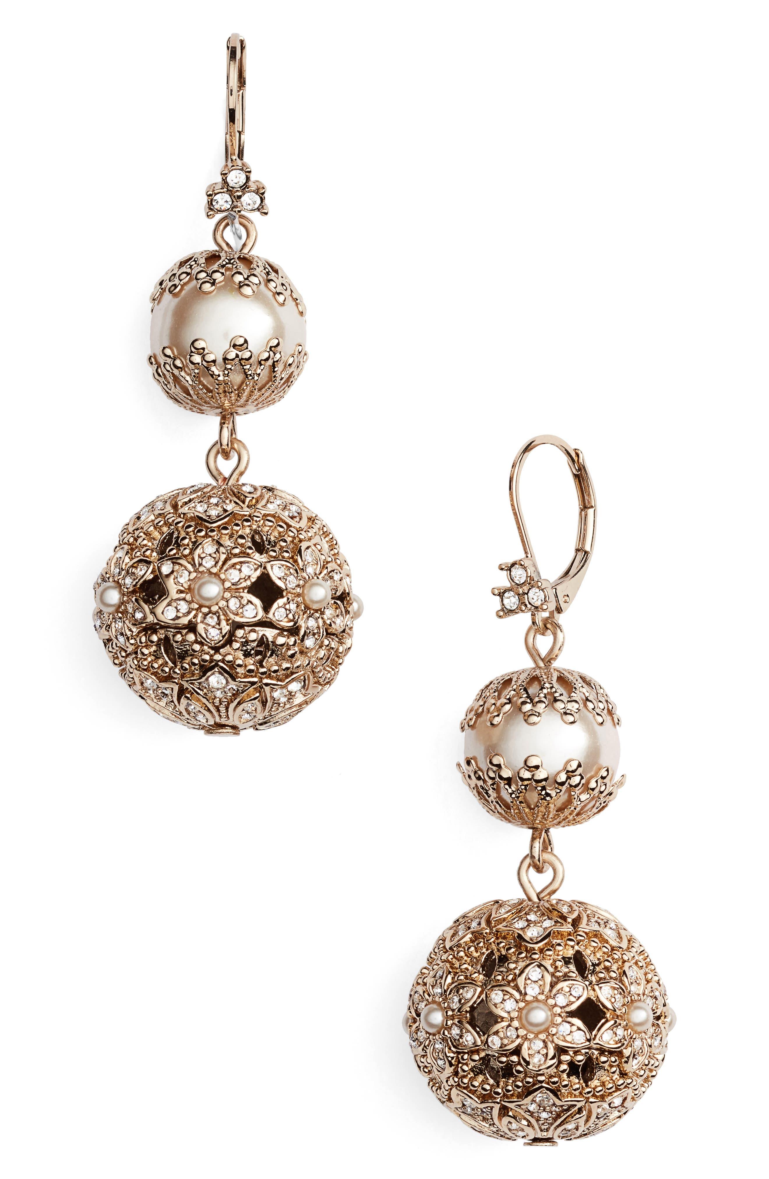 Imitation Pearl Drop Earrings,                             Alternate thumbnail 2, color,