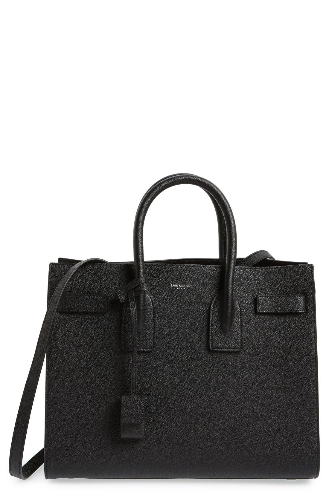 'Small Sac de Jour' Leather Tote,                             Main thumbnail 1, color,                             NOIR