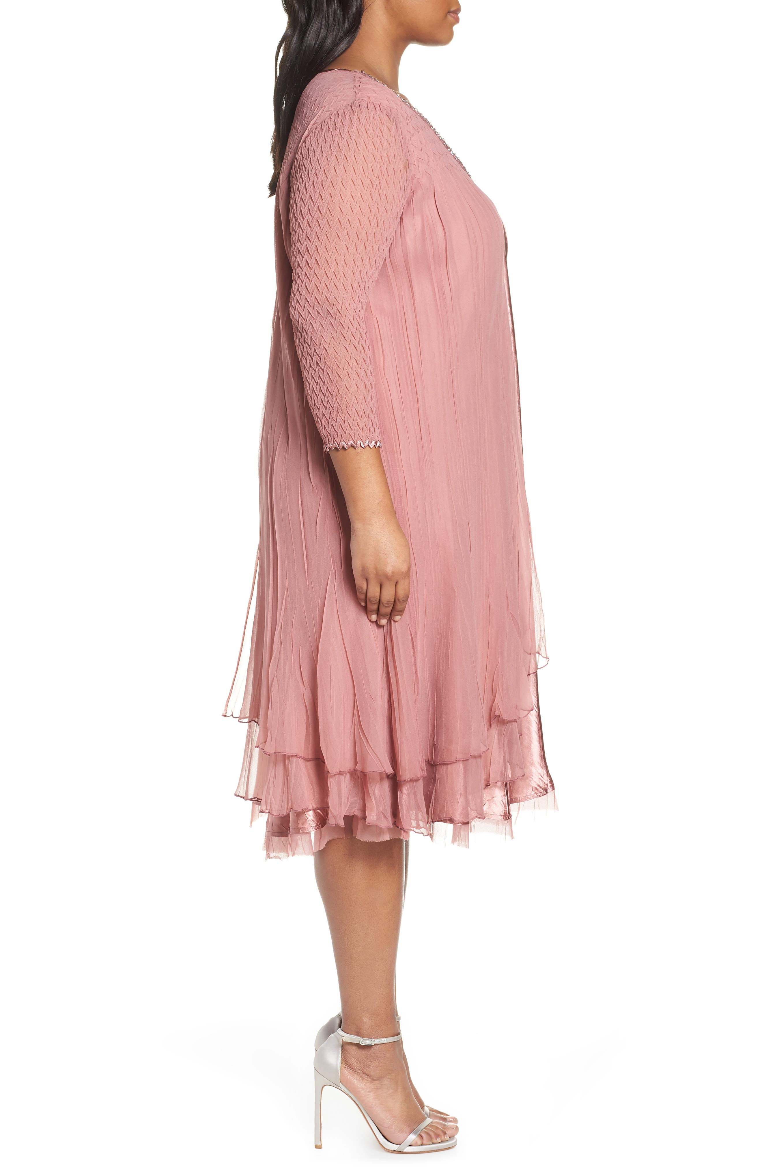 Tiered A-Line Dress,                             Alternate thumbnail 3, color,                             ROSEWOOD