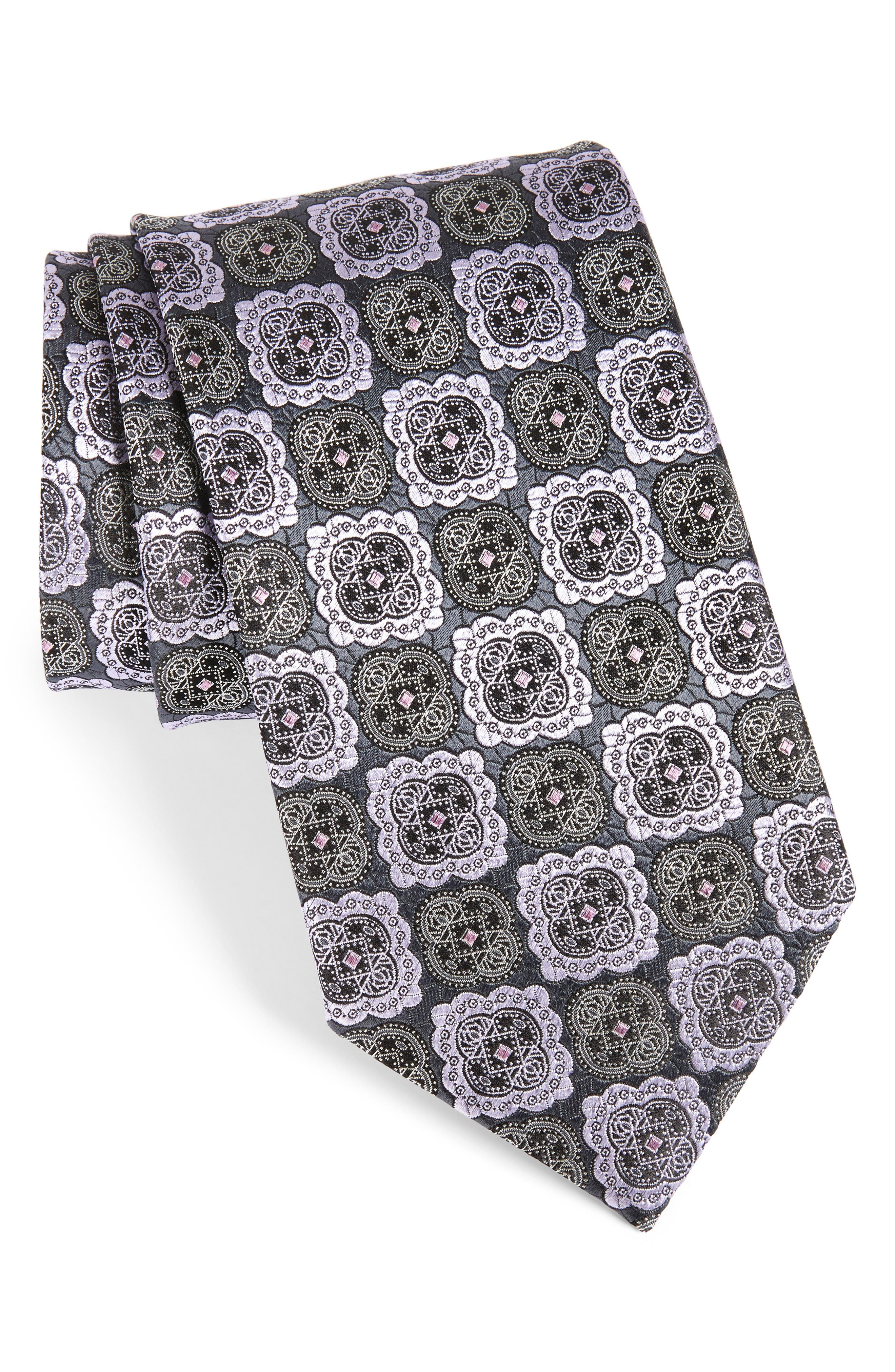 Medallion Silk Tie,                         Main,                         color, 028