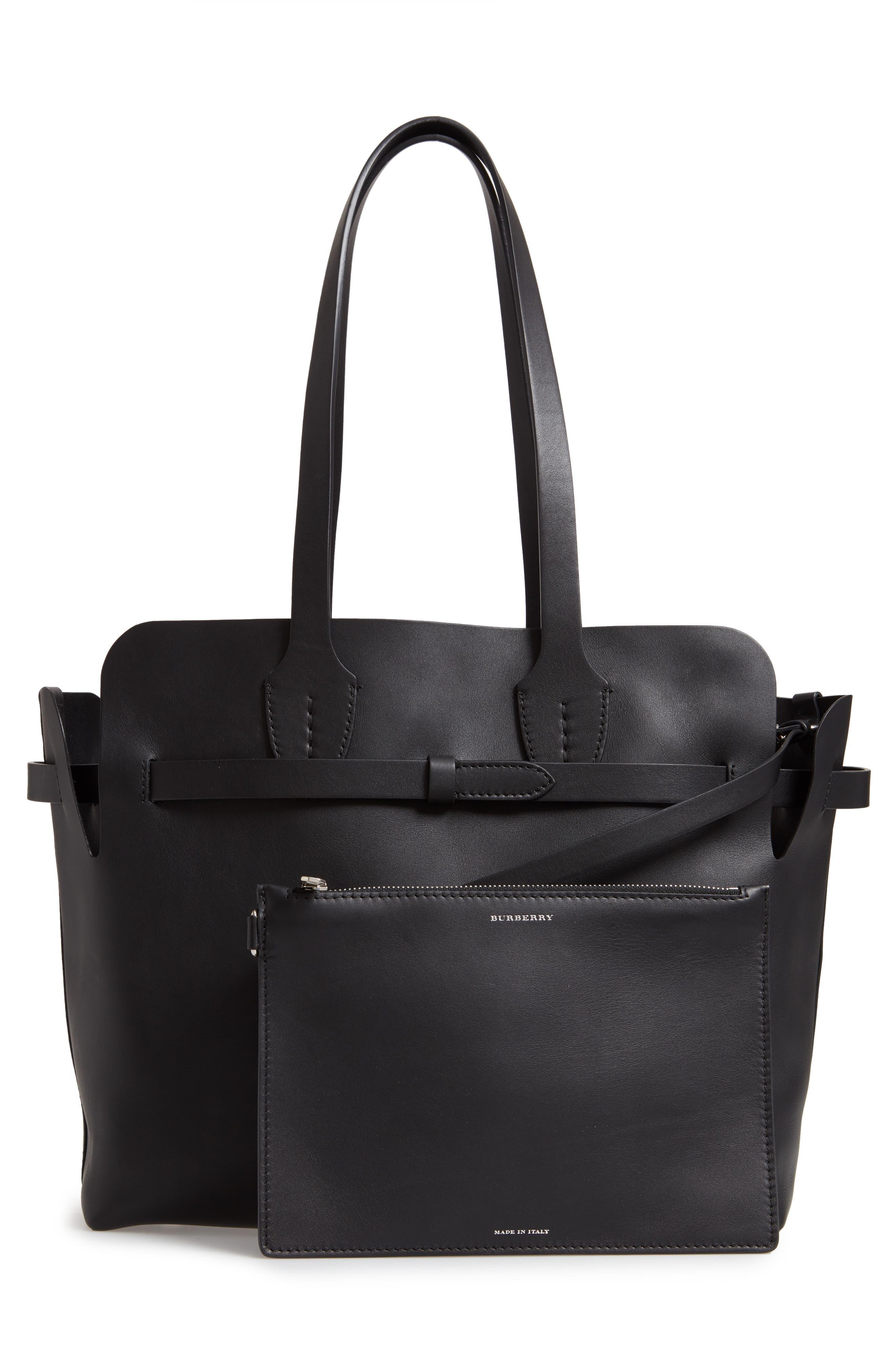 Medium Belt Bag Leather Tote,                             Alternate thumbnail 3, color,                             BLACK