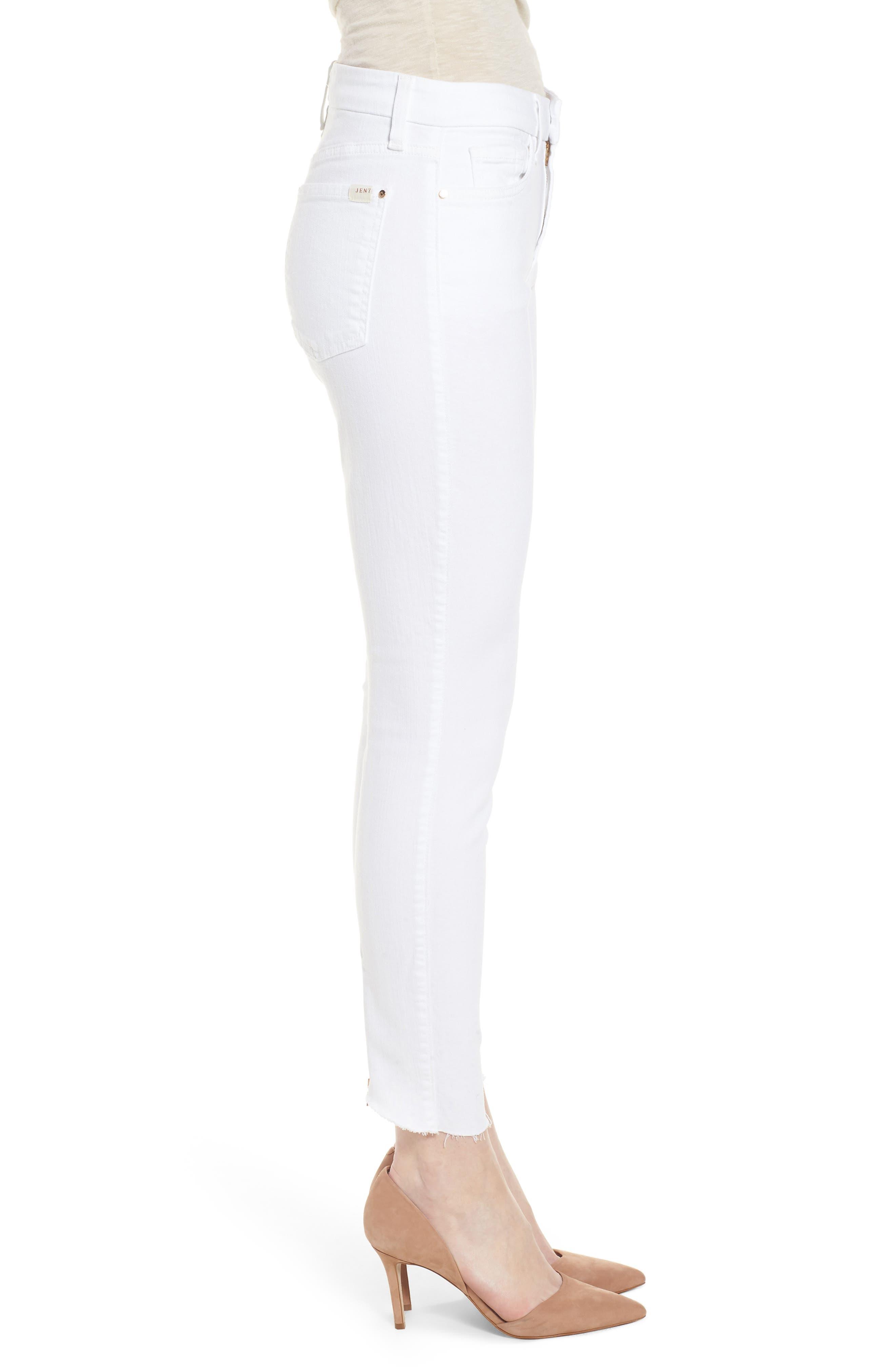 Zip Ankle Skinny Jeans,                             Alternate thumbnail 3, color,                             WHITE
