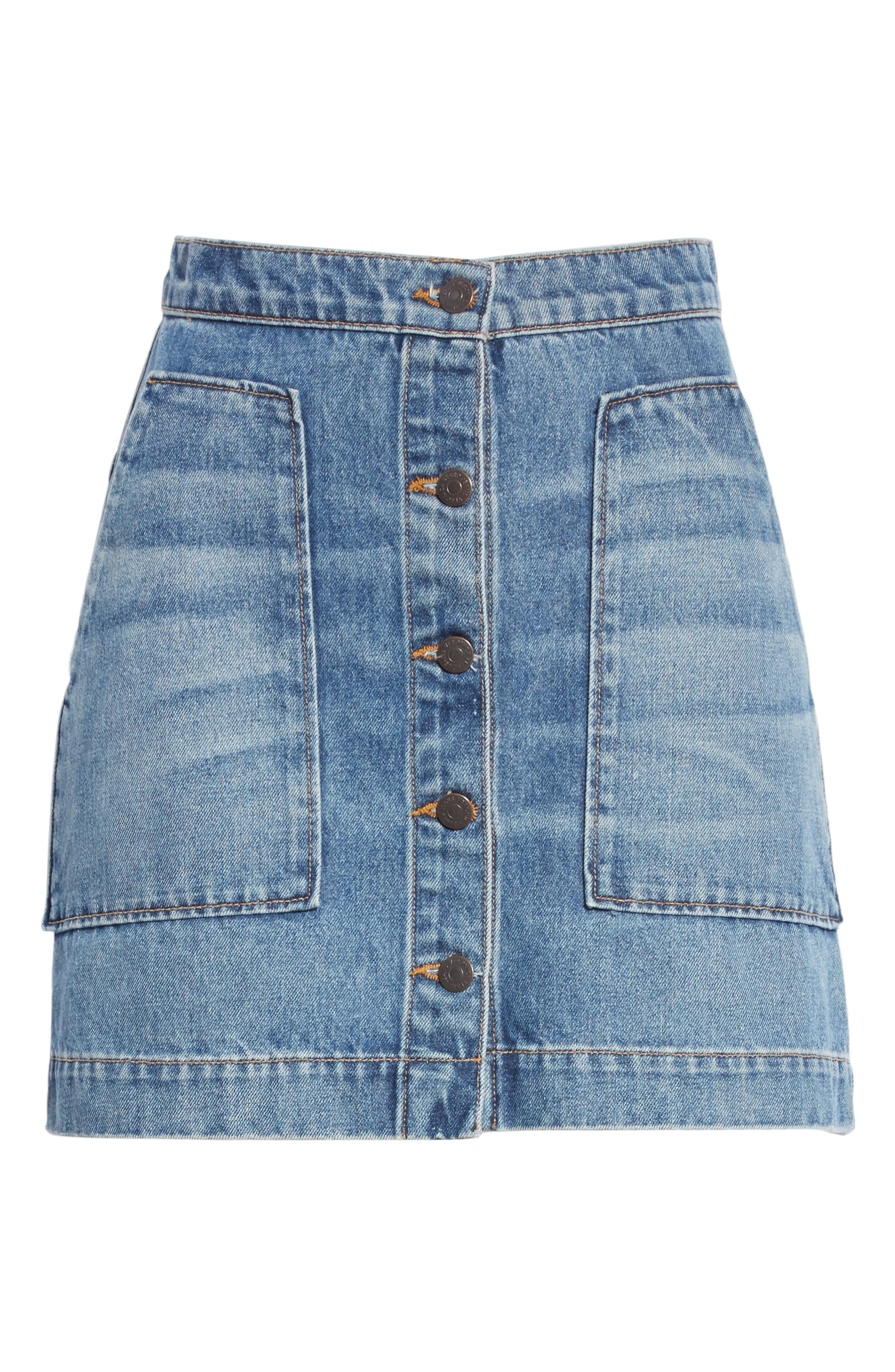 VERONICA BEARD,                             Getty Denim Skirt,                             Alternate thumbnail 7, color,                             499