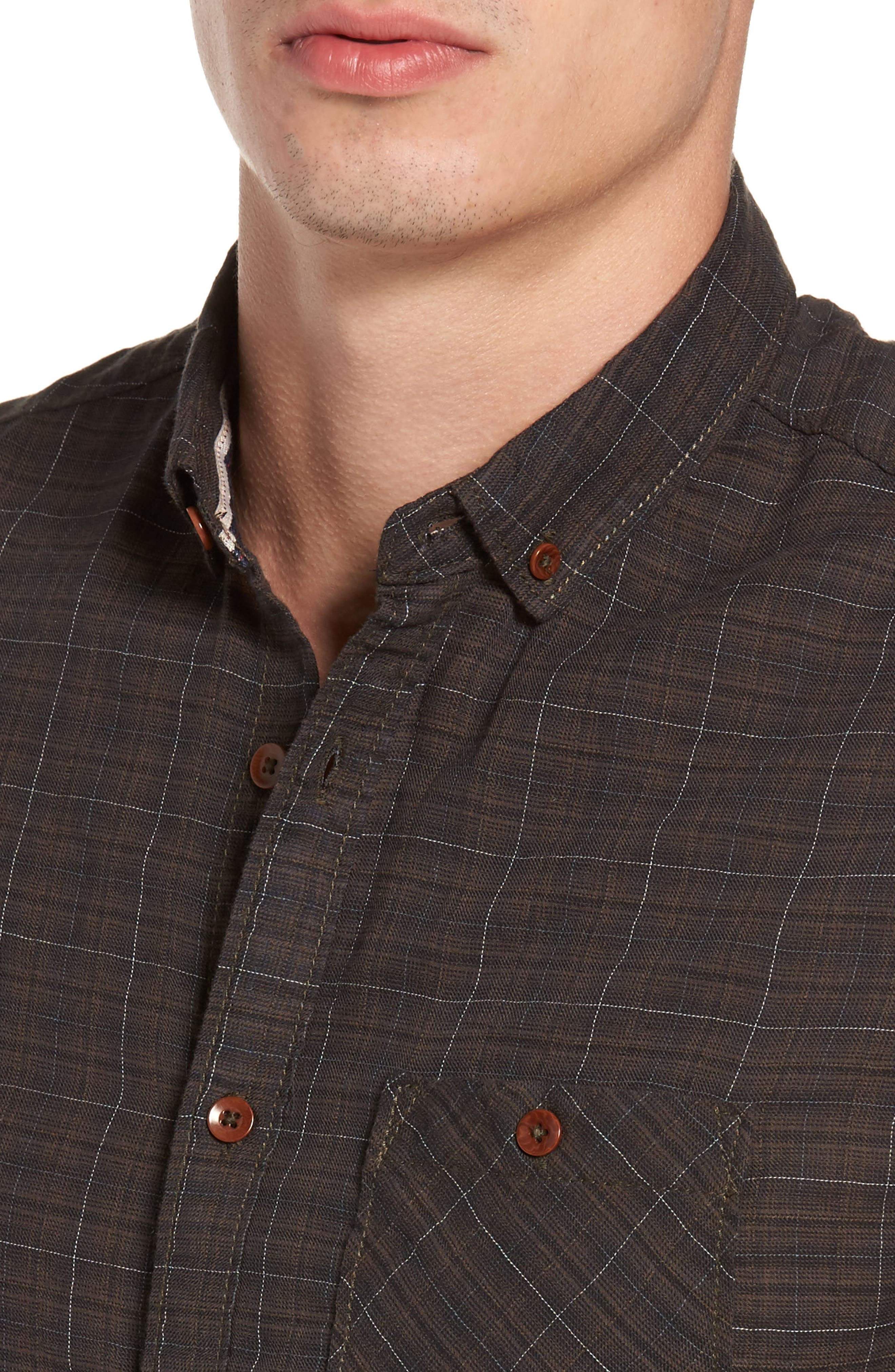 Molera Pucker Plaid Sport Shirt,                             Alternate thumbnail 4, color,                             202