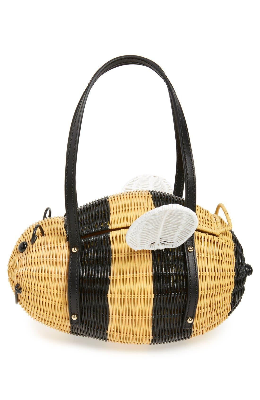 'bee' wicker handbag,                             Alternate thumbnail 3, color,                             250