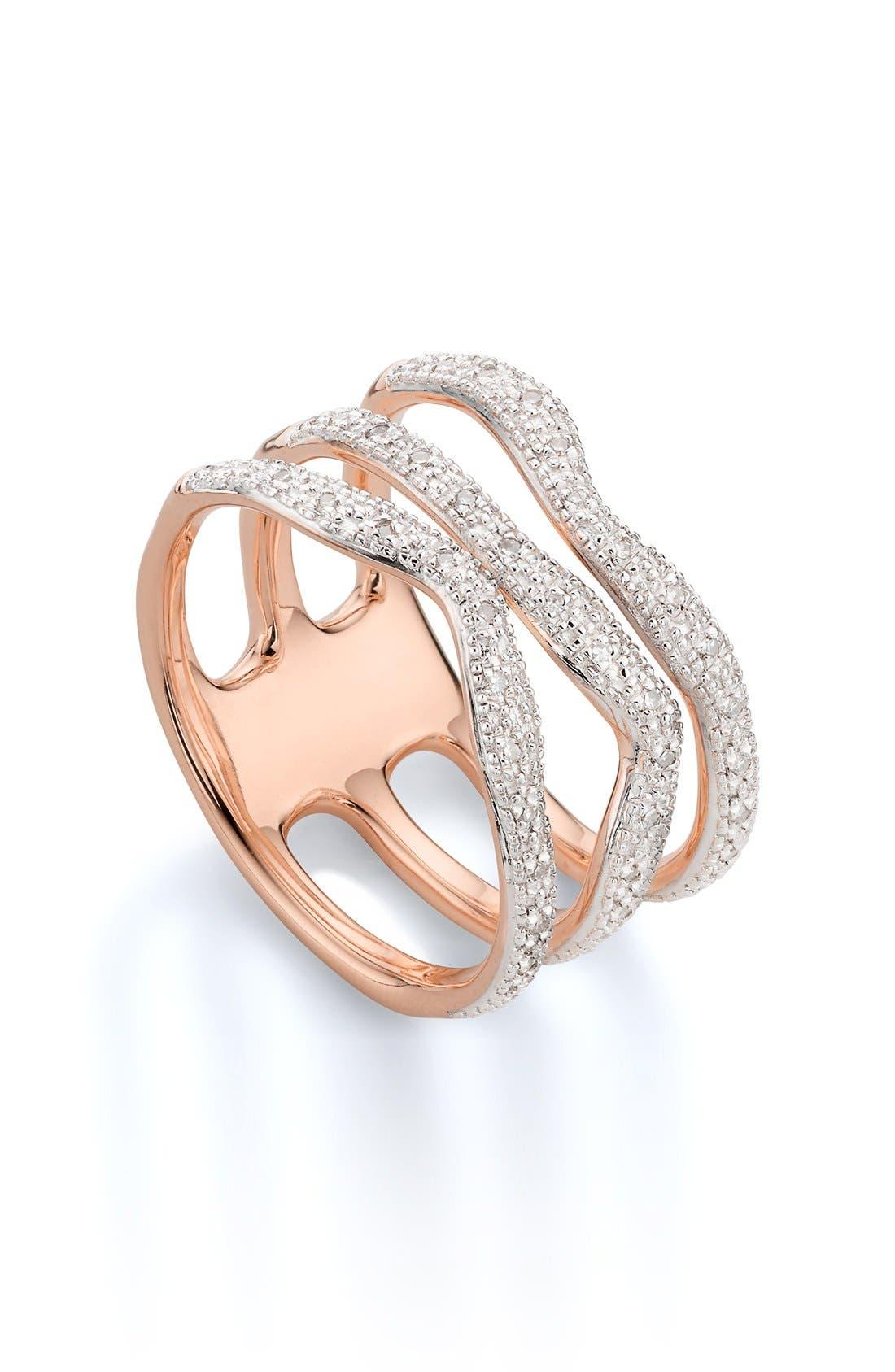 'Riva' Three Band Diamond Ring,                             Main thumbnail 1, color,                             ROSE GOLD