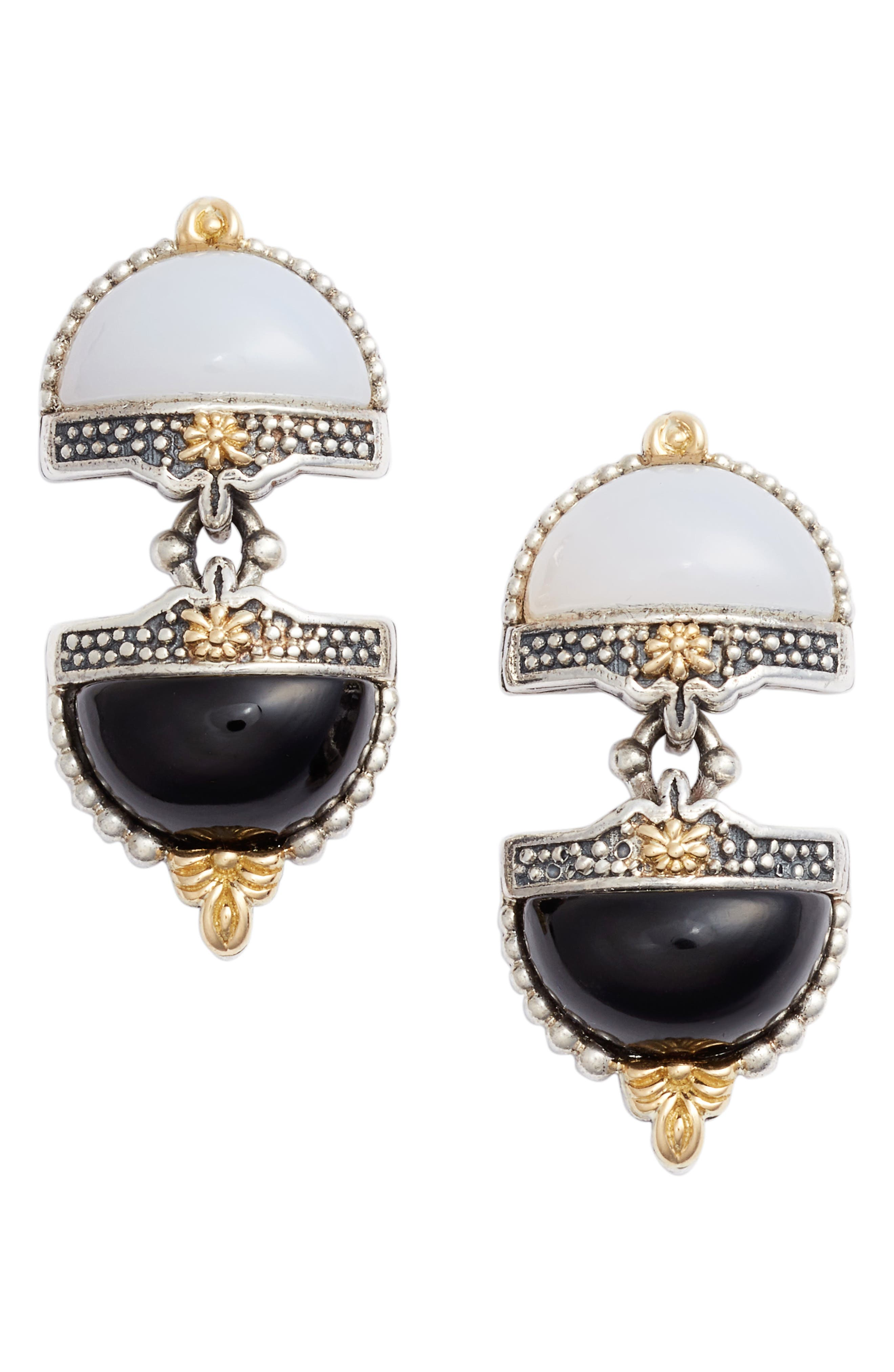 Sterling Silver & Agate Drop Earrings,                             Main thumbnail 1, color,                             BLACK/ WHITE/ SILVER/ GOLD