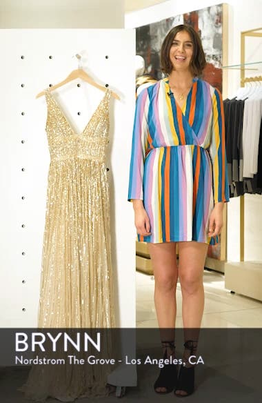 Deep V-Neck Sequin Stripe Gown, sales video thumbnail