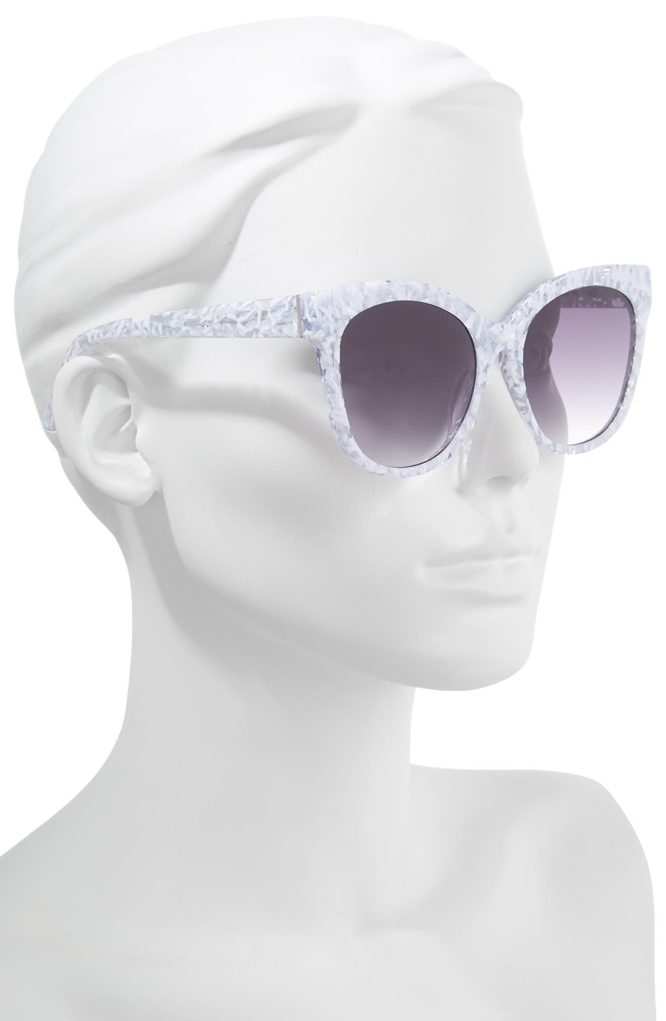 Bossa Nova 57mm Cat Eye Sunglasses,                             Alternate thumbnail 2, color,                             WHITE SPECKLE