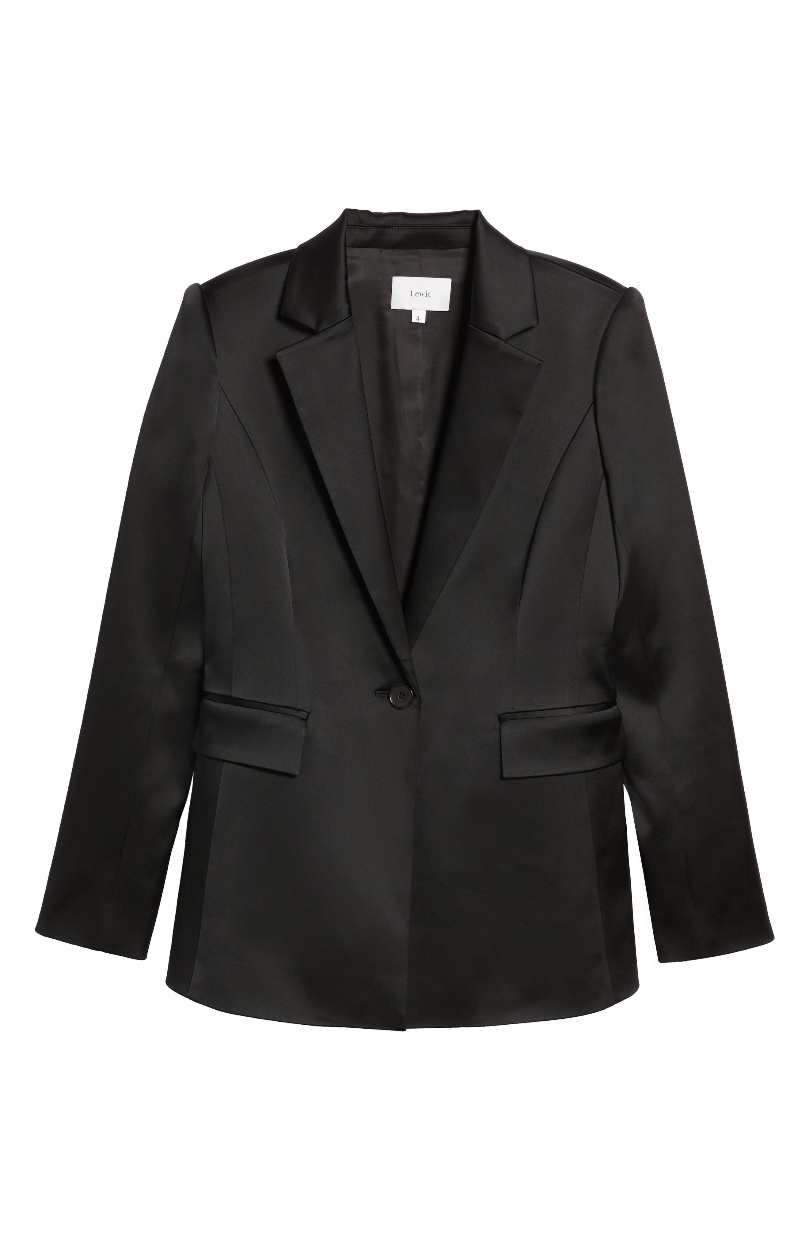 Puff Shoulder Satin Blazer,                             Alternate thumbnail 5, color,