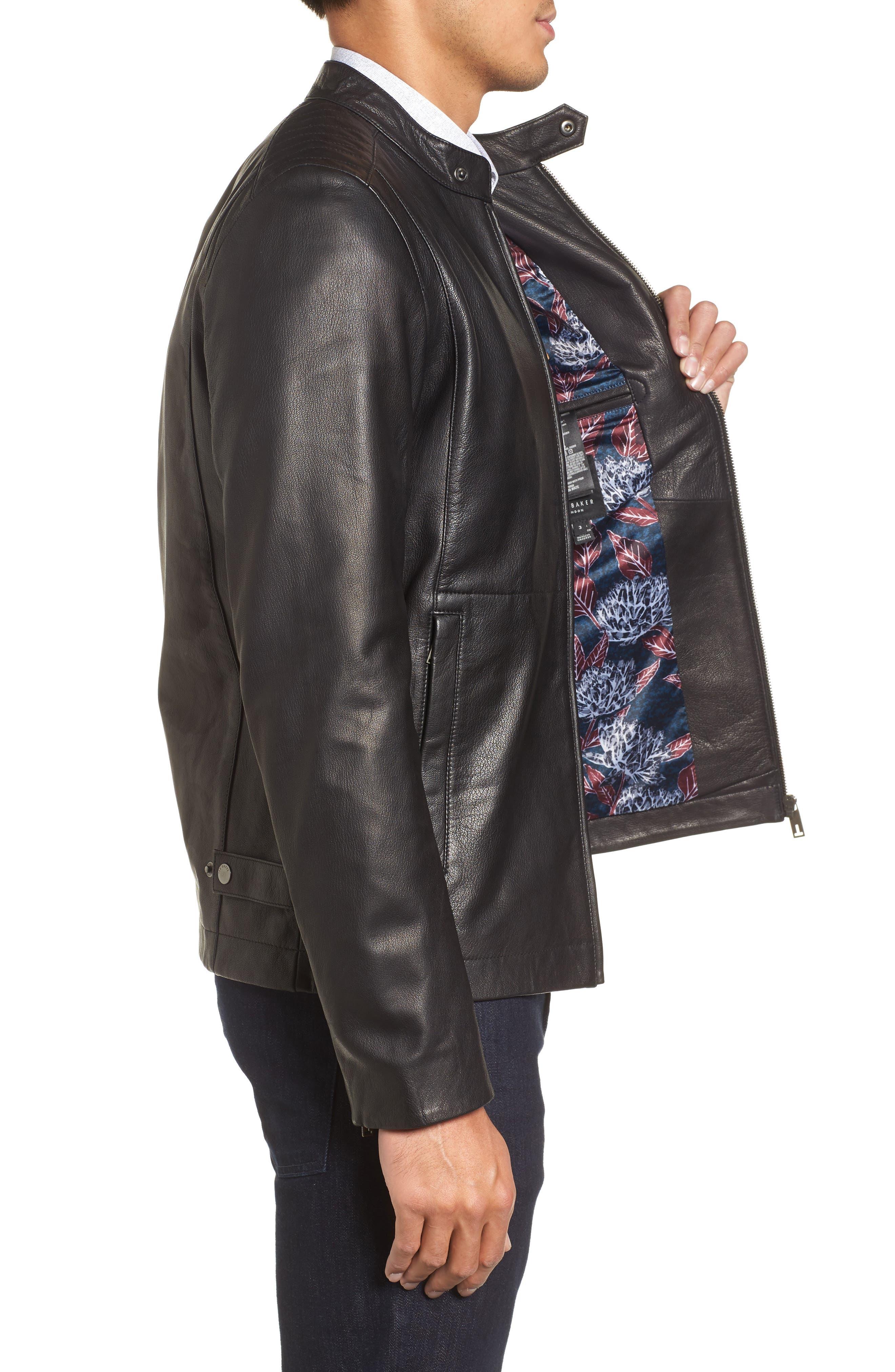 Mate Leather Biker Jacket,                             Alternate thumbnail 3, color,                             001