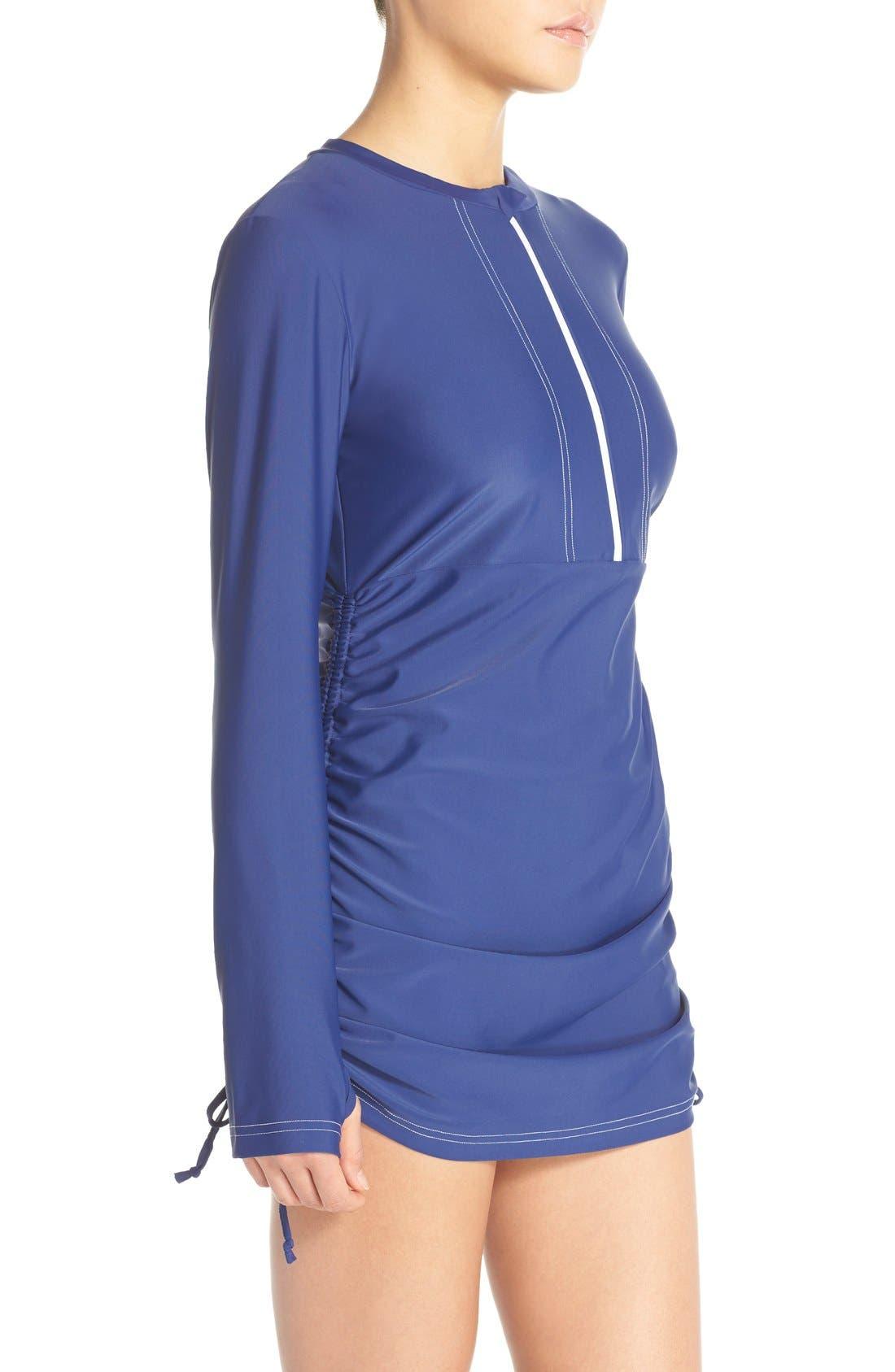 'Sonja' Long Sleeve Half Zip Convertible Swimdress,                             Alternate thumbnail 36, color,