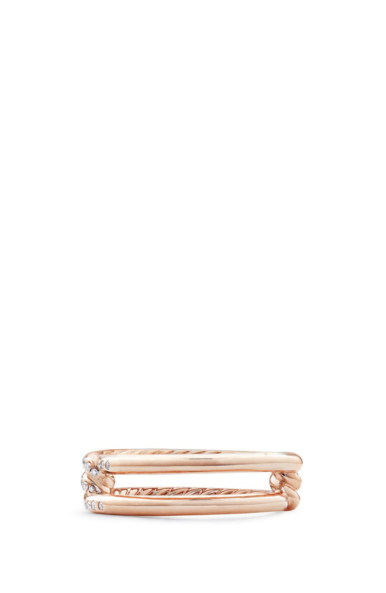 Continuance Band Ring with Diamonds in 18k Gold, 6.5mm,                             Alternate thumbnail 3, color,                             ROSE GOLD