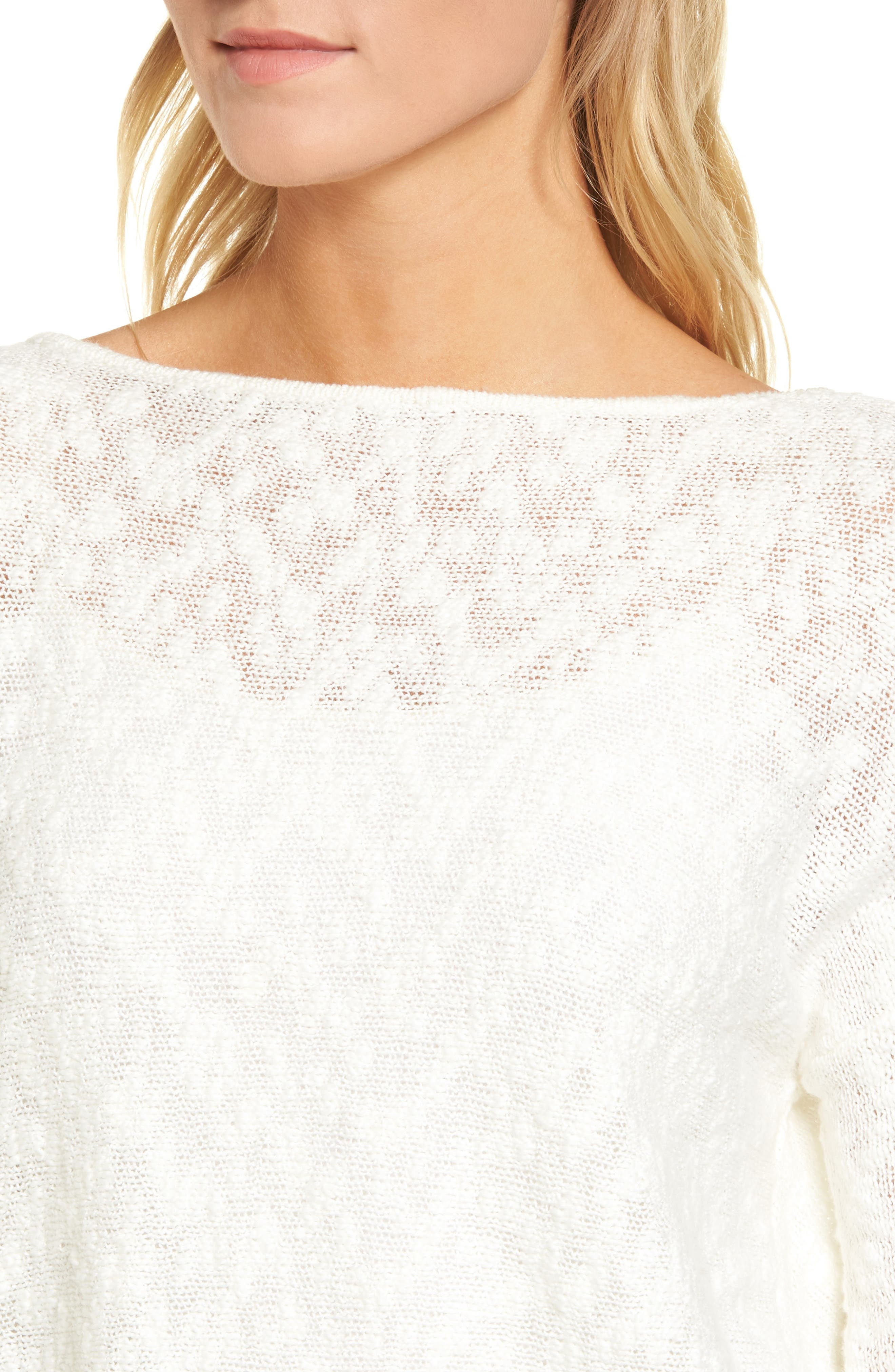 Textured Twist Back Sweater,                             Alternate thumbnail 4, color,