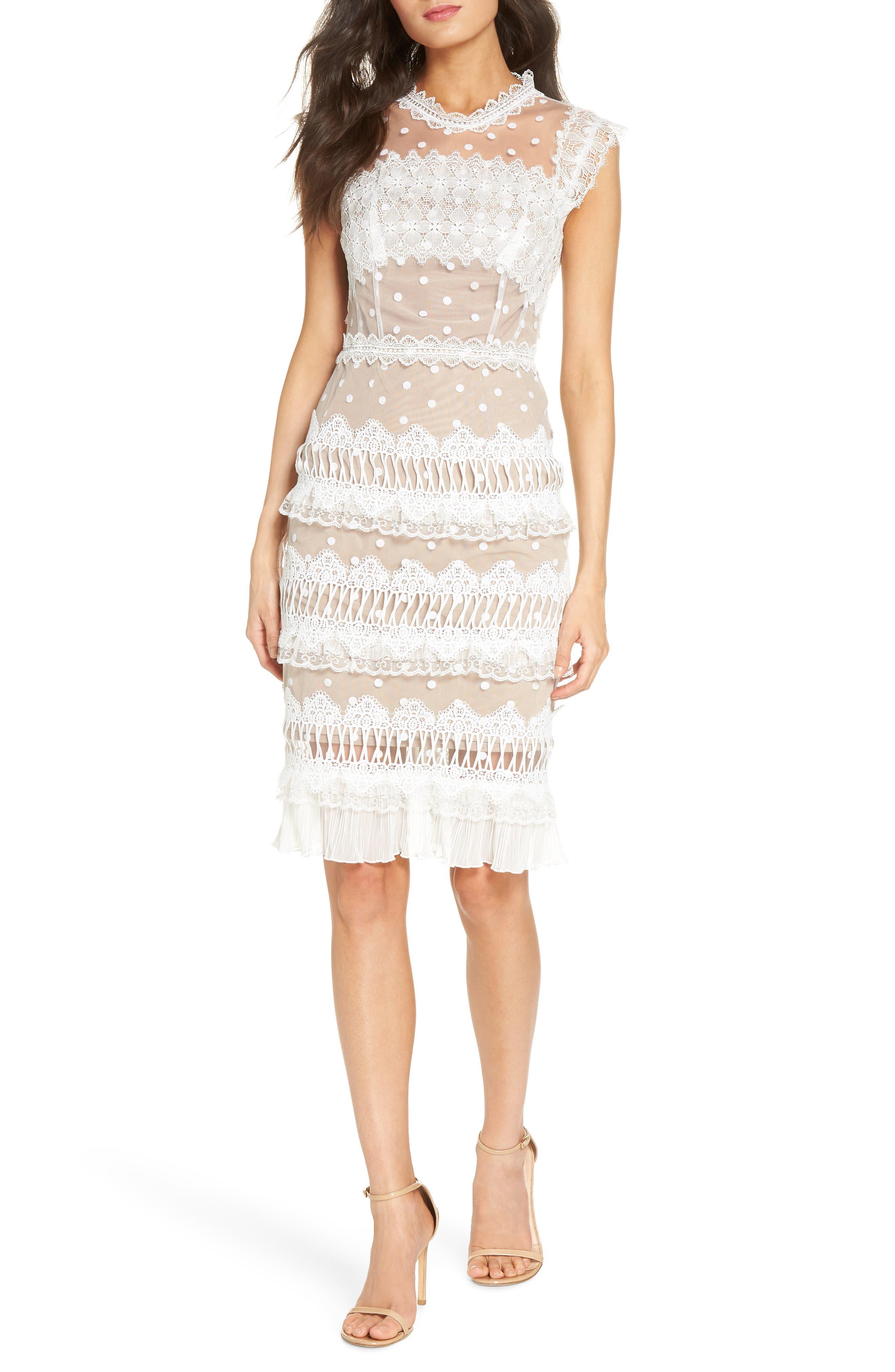 Majiorca Dot Lace Cocktail Dress,                         Main,                         color, WHITE
