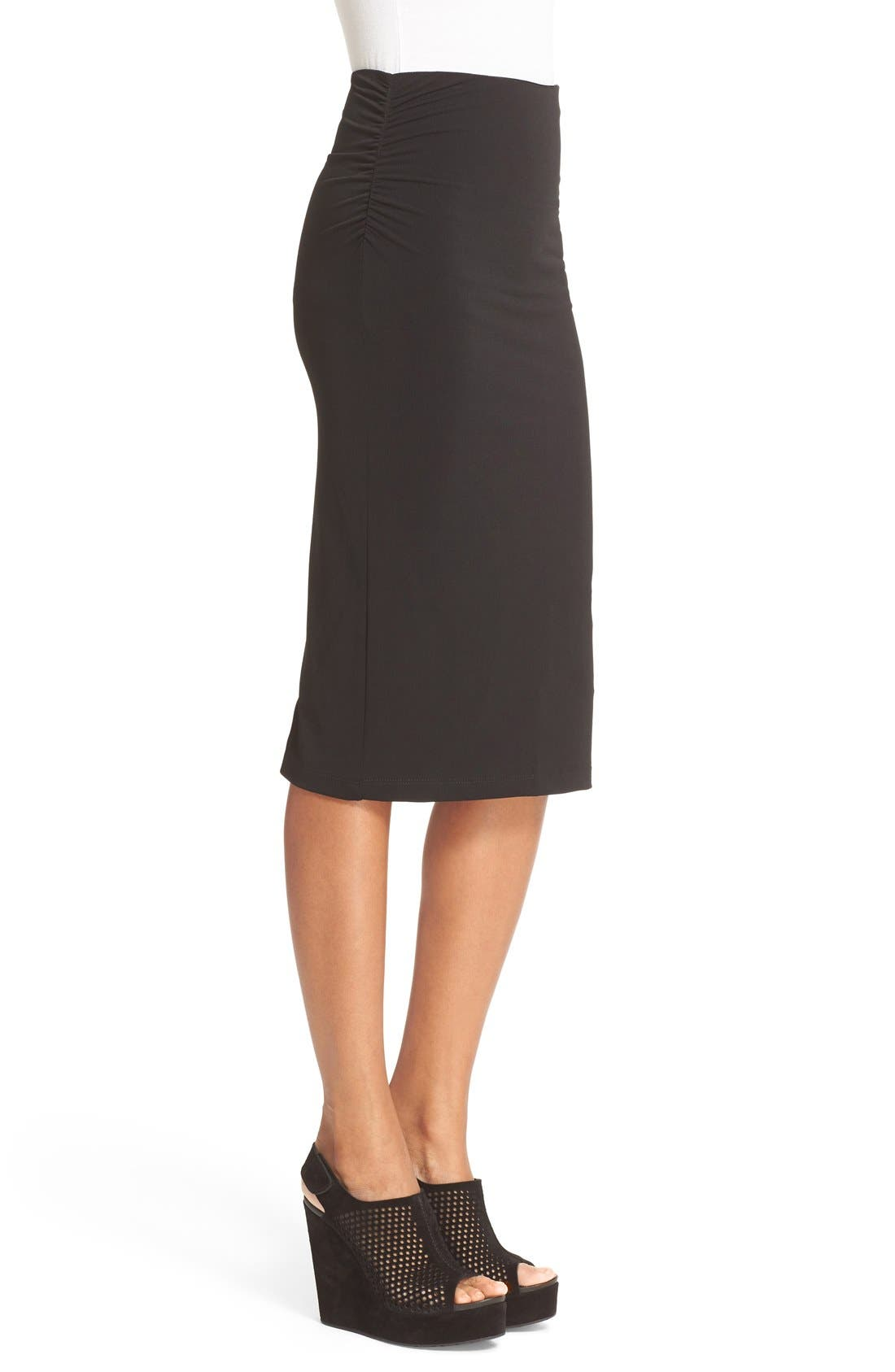 ALICE + OLIVIA,                             Ciera Side Ruched High Waist Pencil Skirt,                             Alternate thumbnail 4, color,                             001