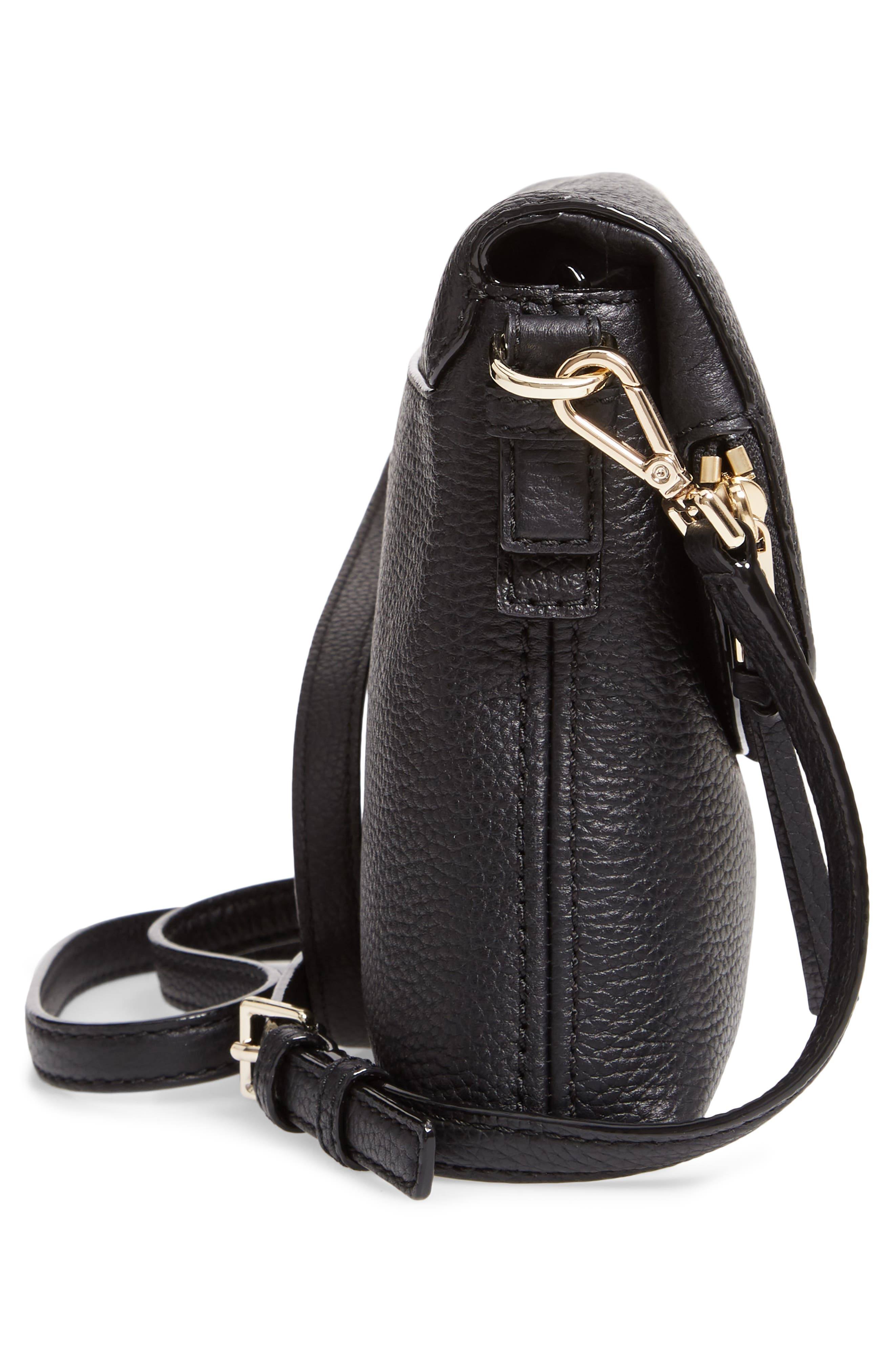 jackson street - harlyn leather crossbody bag,                             Alternate thumbnail 5, color,                             BLACK