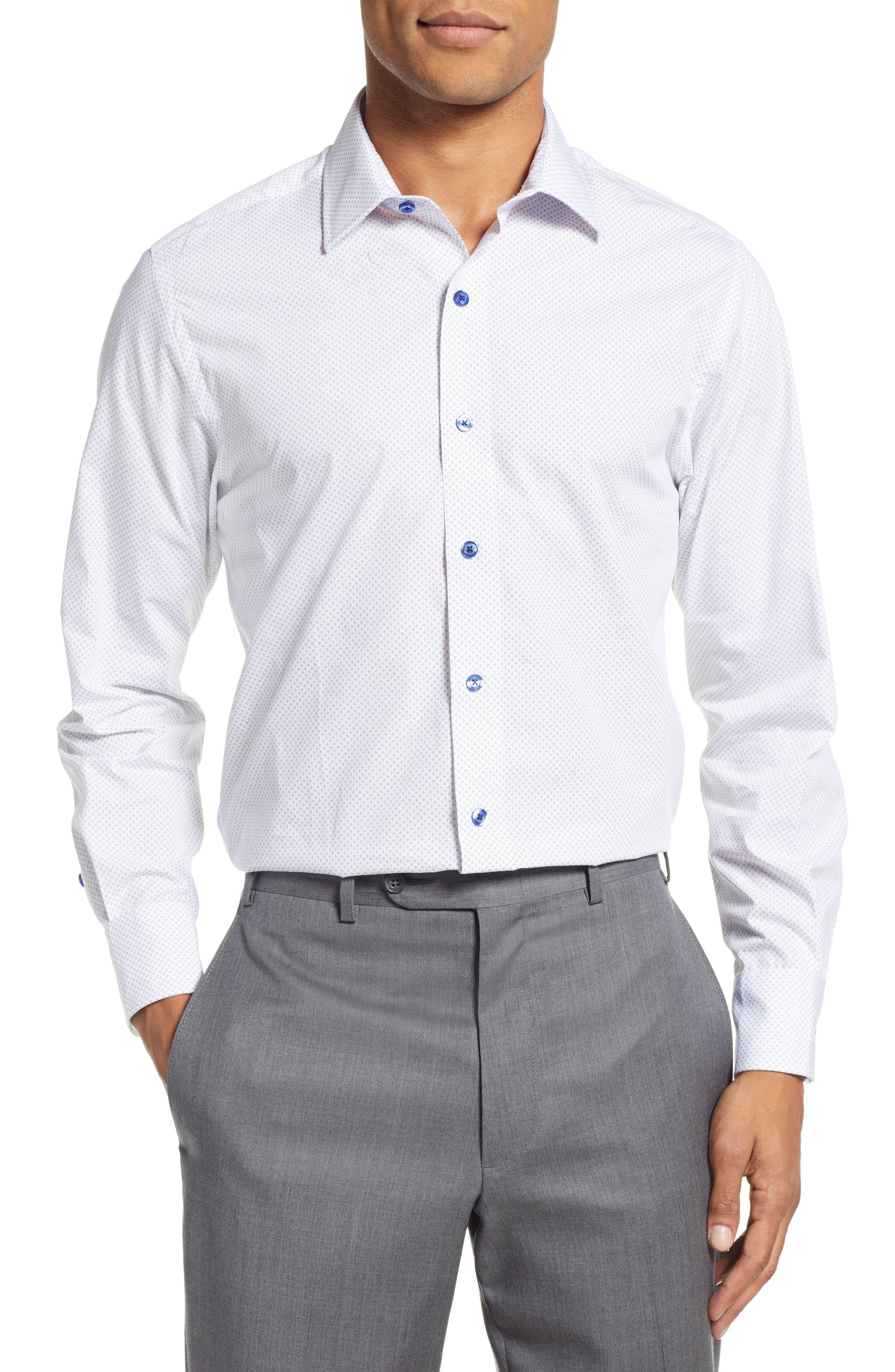 Slim Fit Diamond Dress Shirt,                             Main thumbnail 1, color,                             WHITE DIAMOND DOT