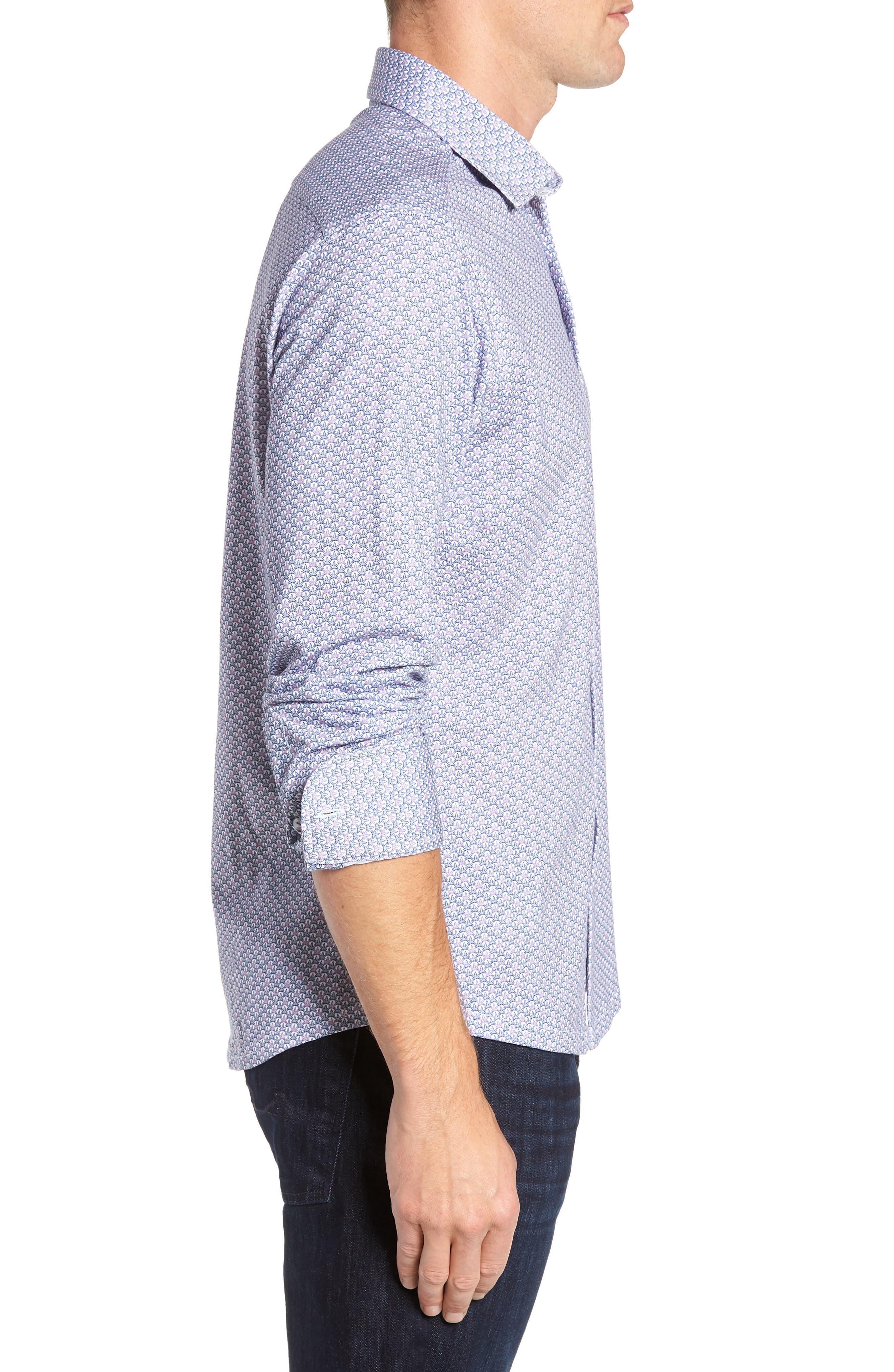 Trim Fit Knit Sport Shirt,                             Alternate thumbnail 4, color,                             100