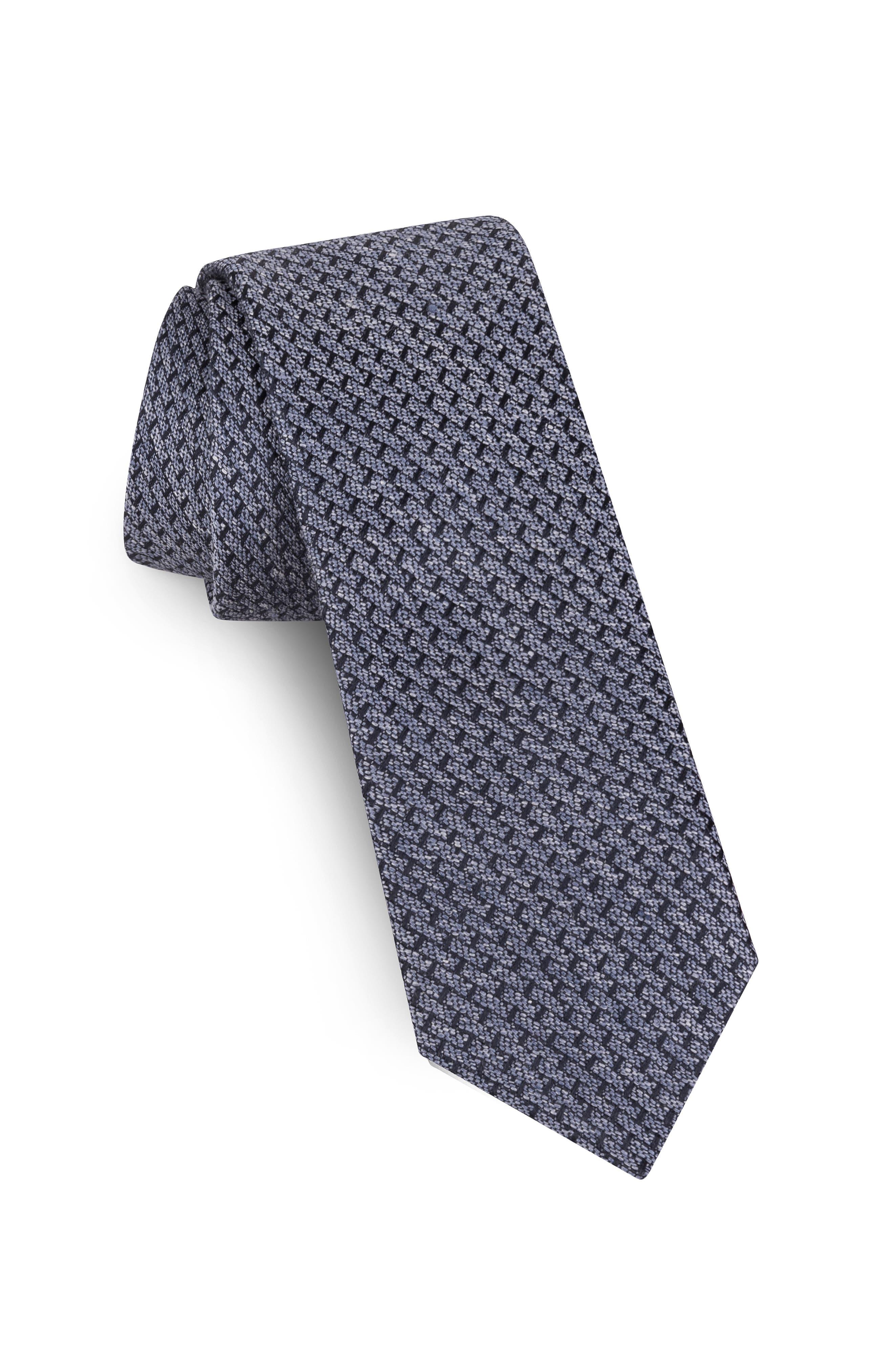 Solid Silk & Linen Tie,                         Main,                         color, LIGHT BLUE