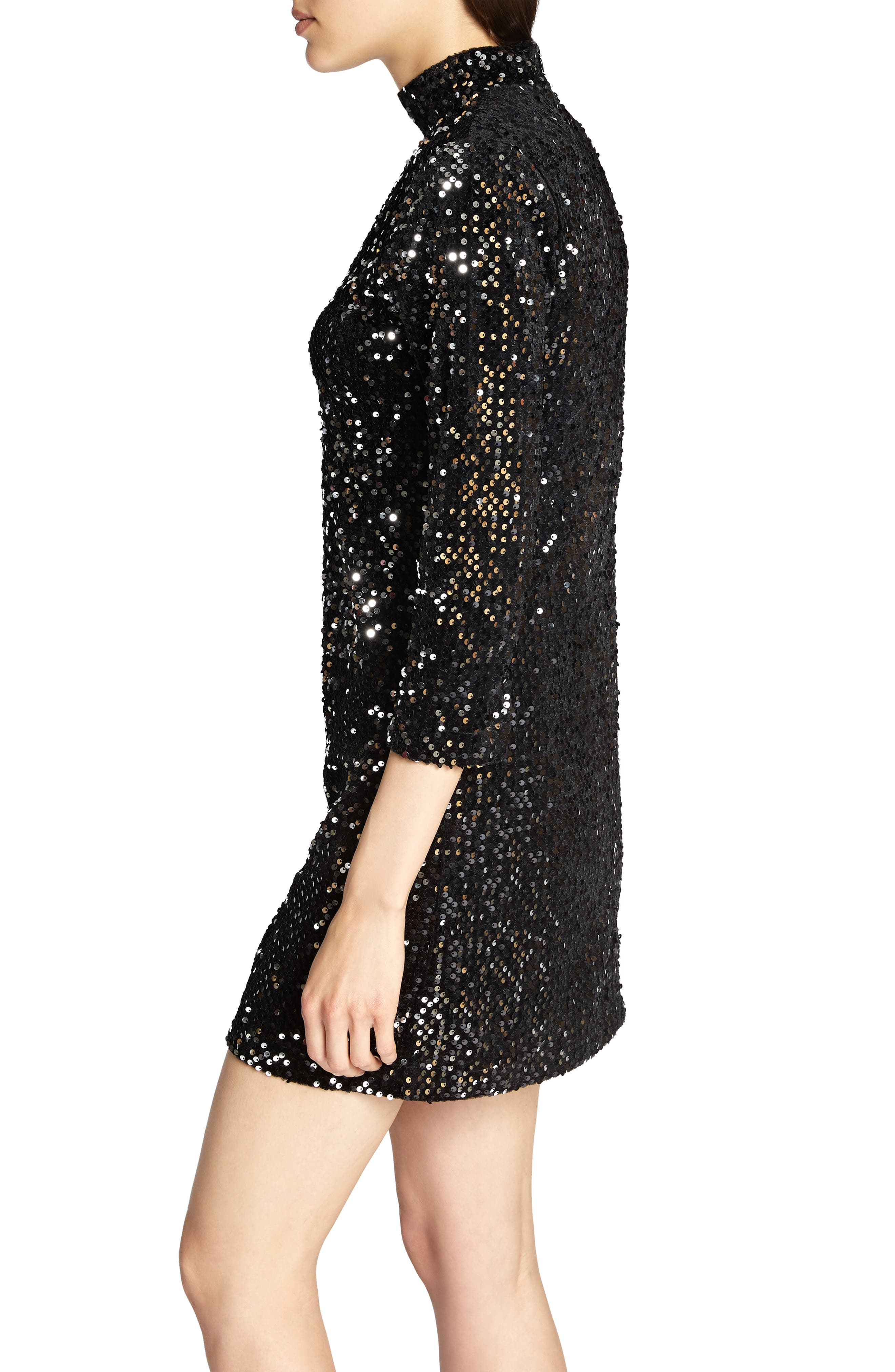 Keep Your Heads Up Sequin Shift Dress,                             Alternate thumbnail 3, color,                             BLACK/ SILVER