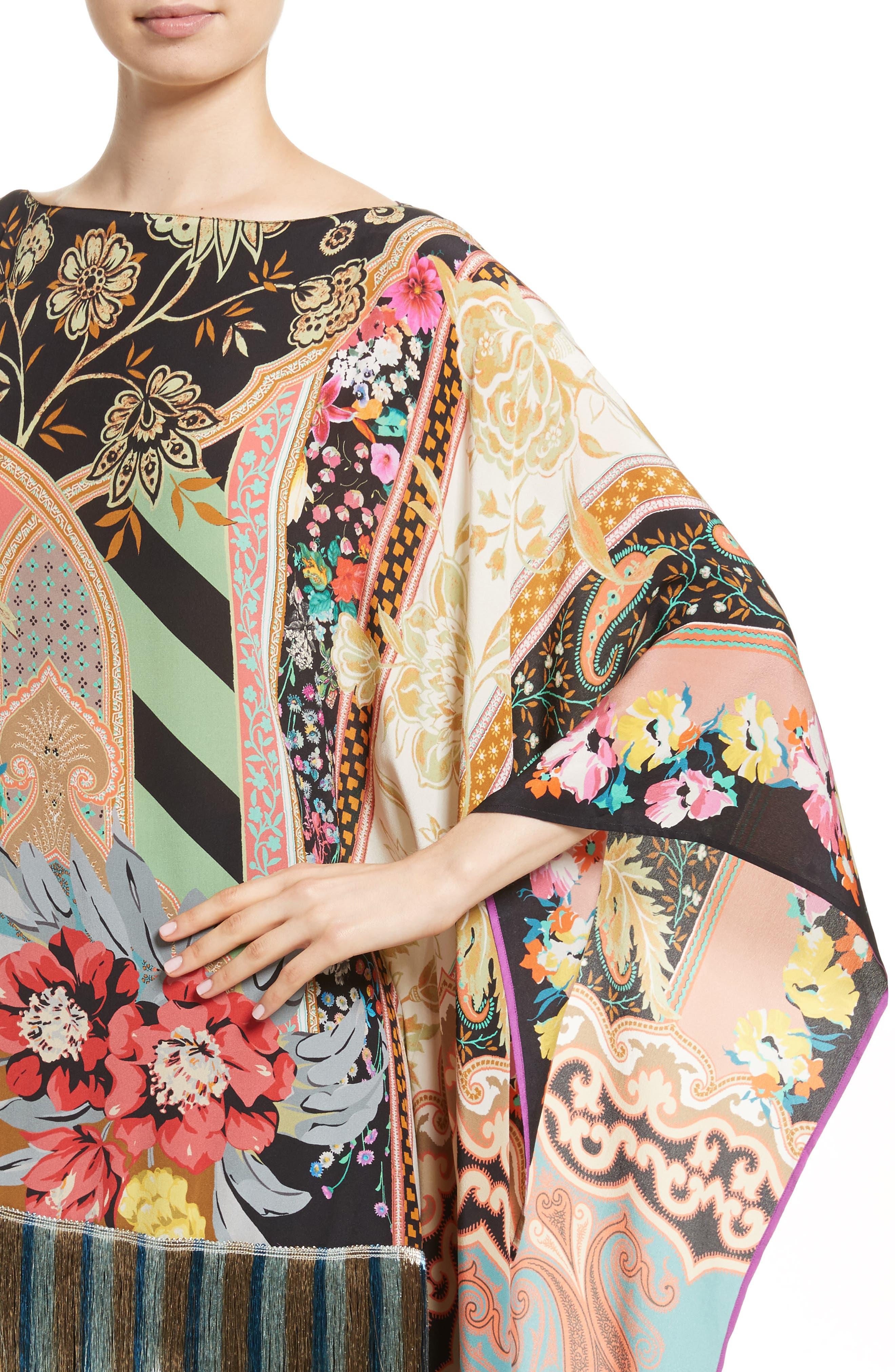 Fringe Hem Silk Poncho,                             Alternate thumbnail 4, color,                             001