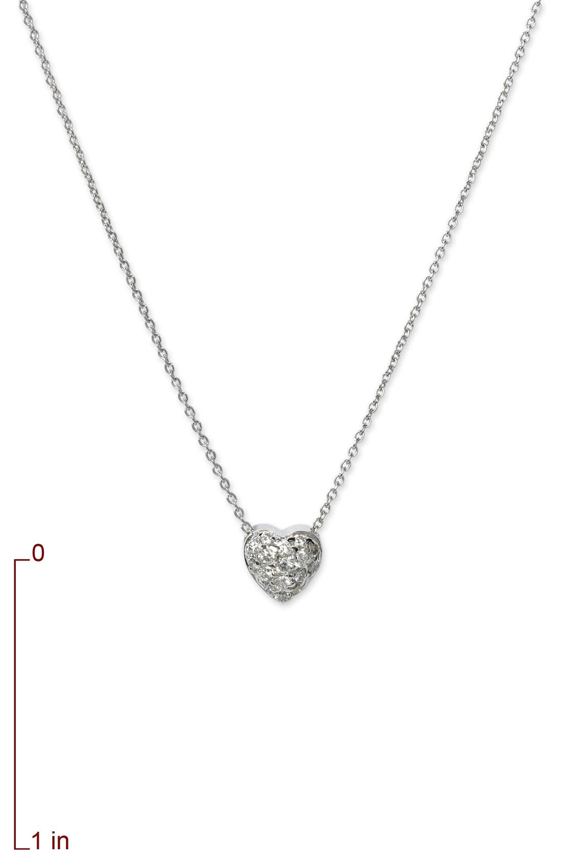 'Tiny Treasures' Diamond Puffed Heart Pendant Necklace,                             Alternate thumbnail 4, color,                             041